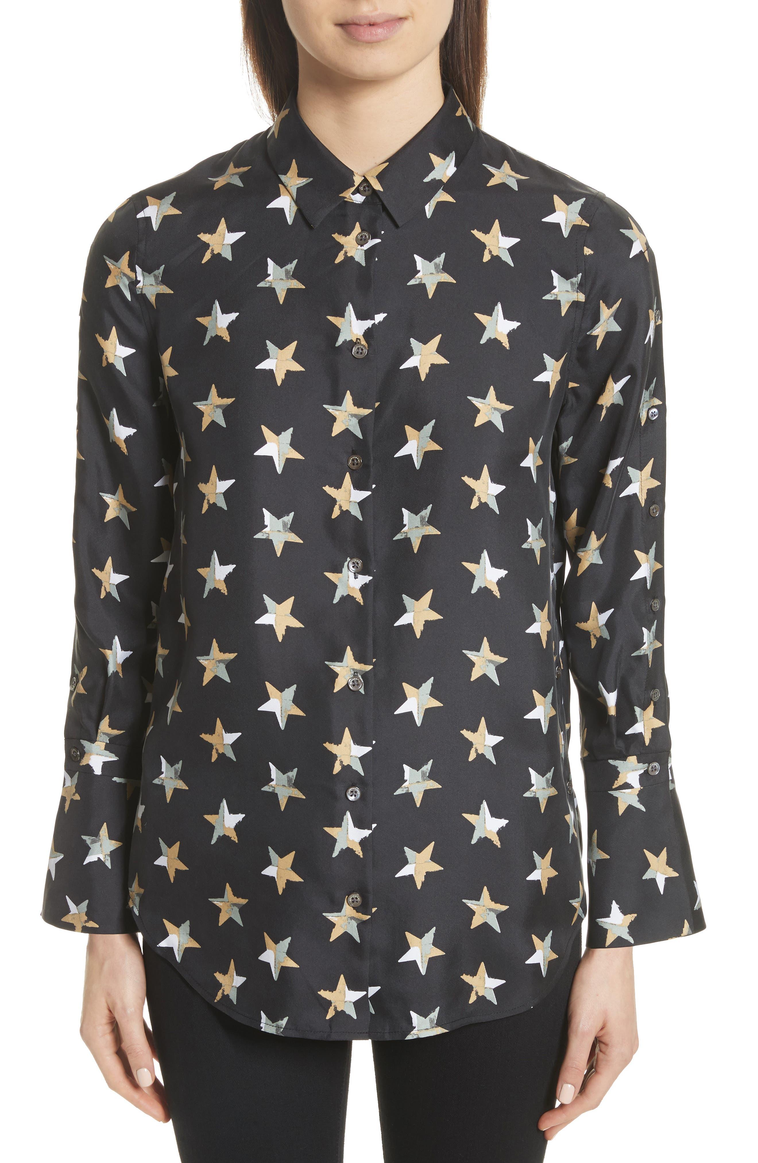 Rossi Button Detail Star Print Silk Shirt,                         Main,                         color, 006