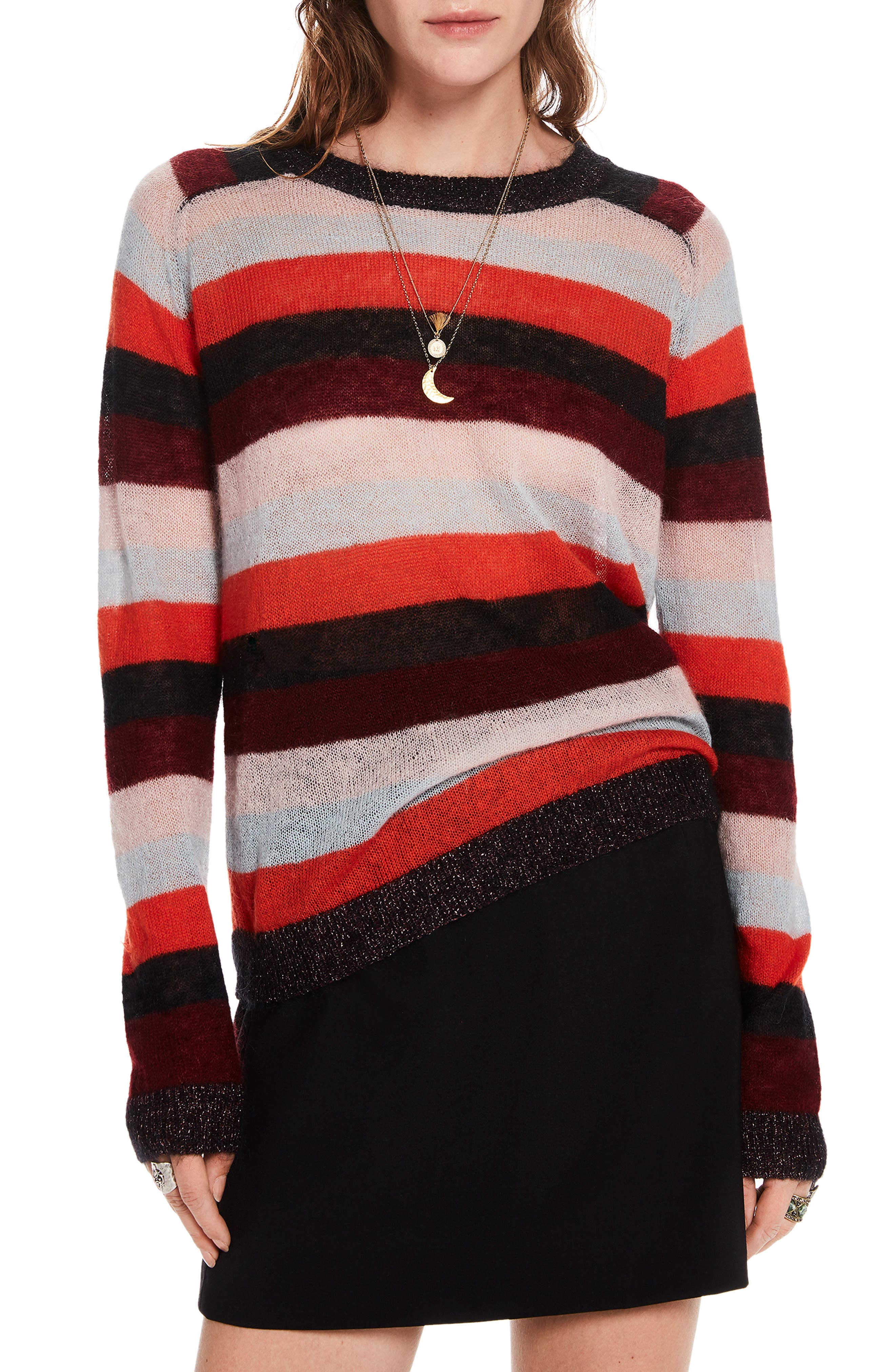 Stripe Sweater,                             Main thumbnail 1, color,                             ORANGE BURGUNDY LT BLUE STRIPE