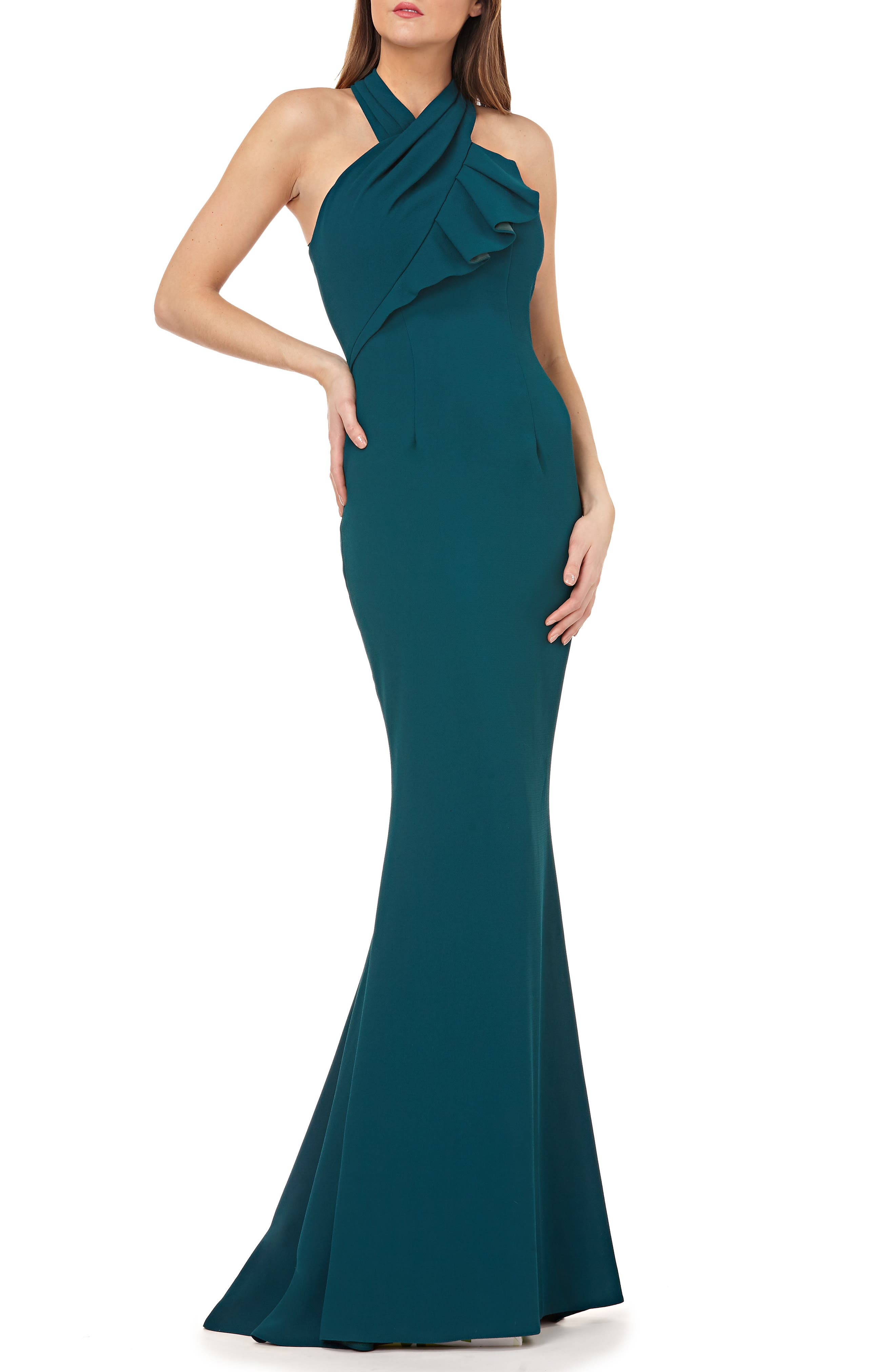 Carmen Marc Valvo Infusion Twisted Halter Trumpet Gown, Green