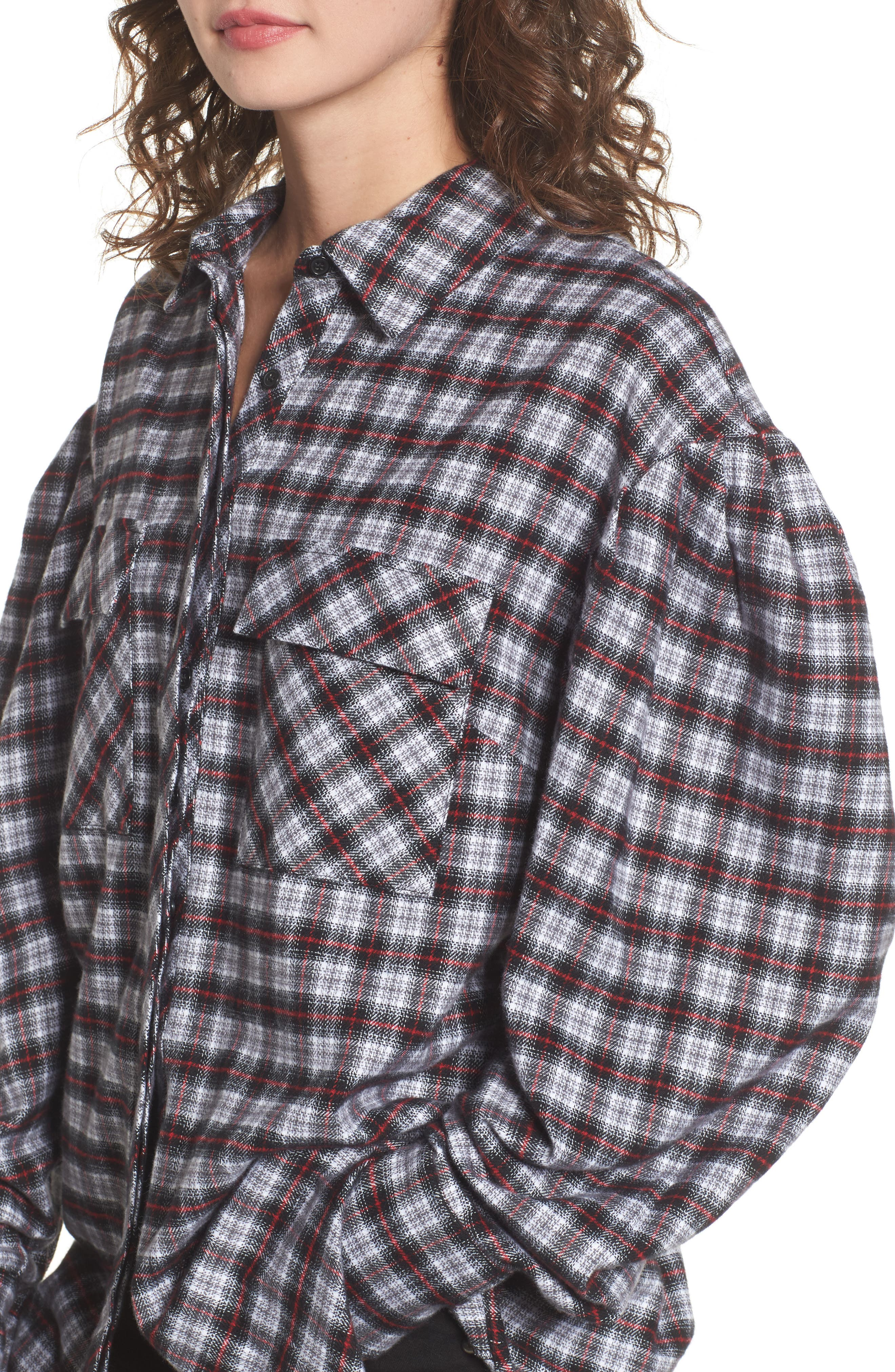 Victoria Oversize Flannel Shirt,                             Alternate thumbnail 4, color,                             001
