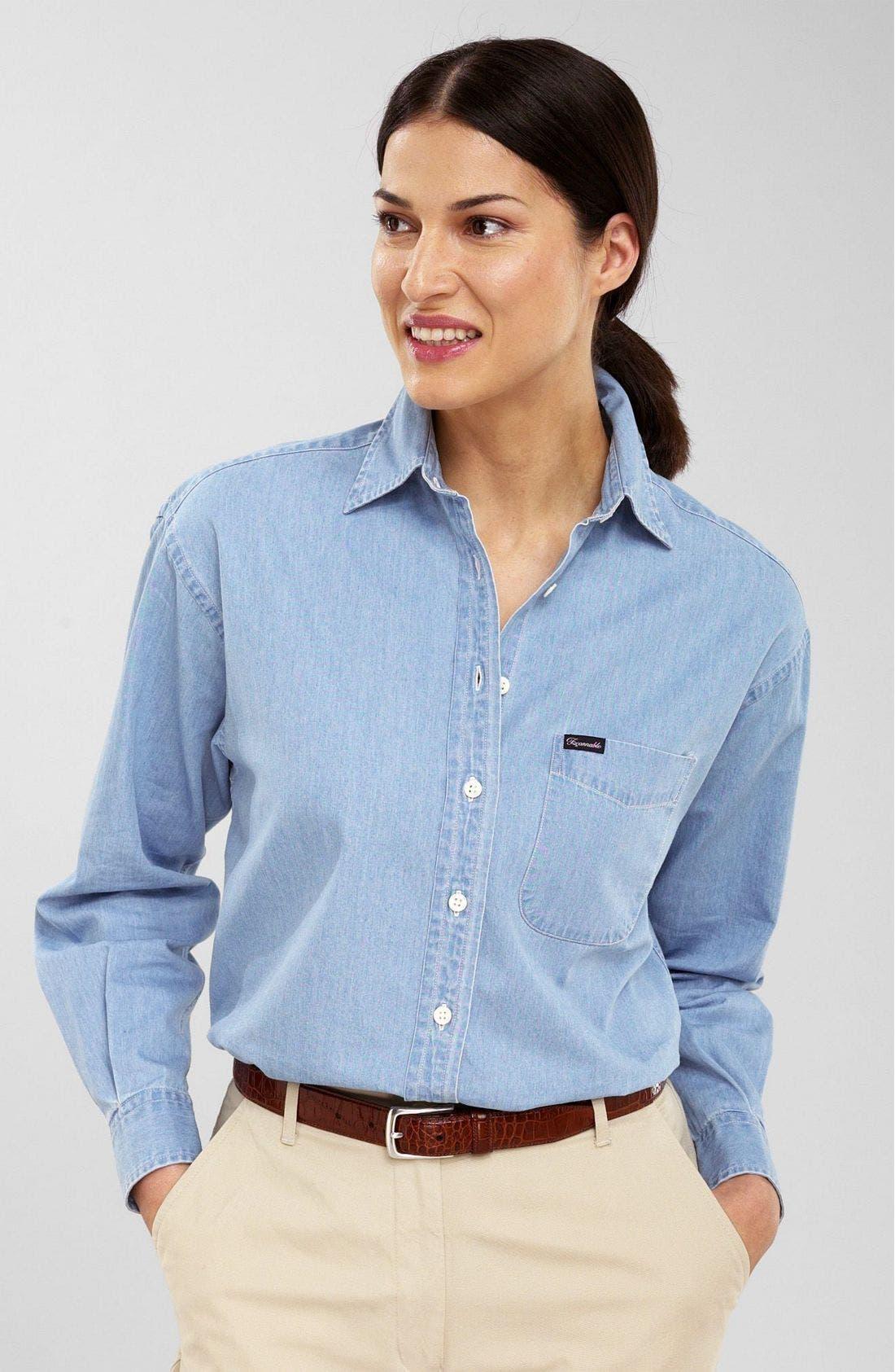 F. FAÇONNABLE Façonnable Chambray Shirt, Main, color, CHA
