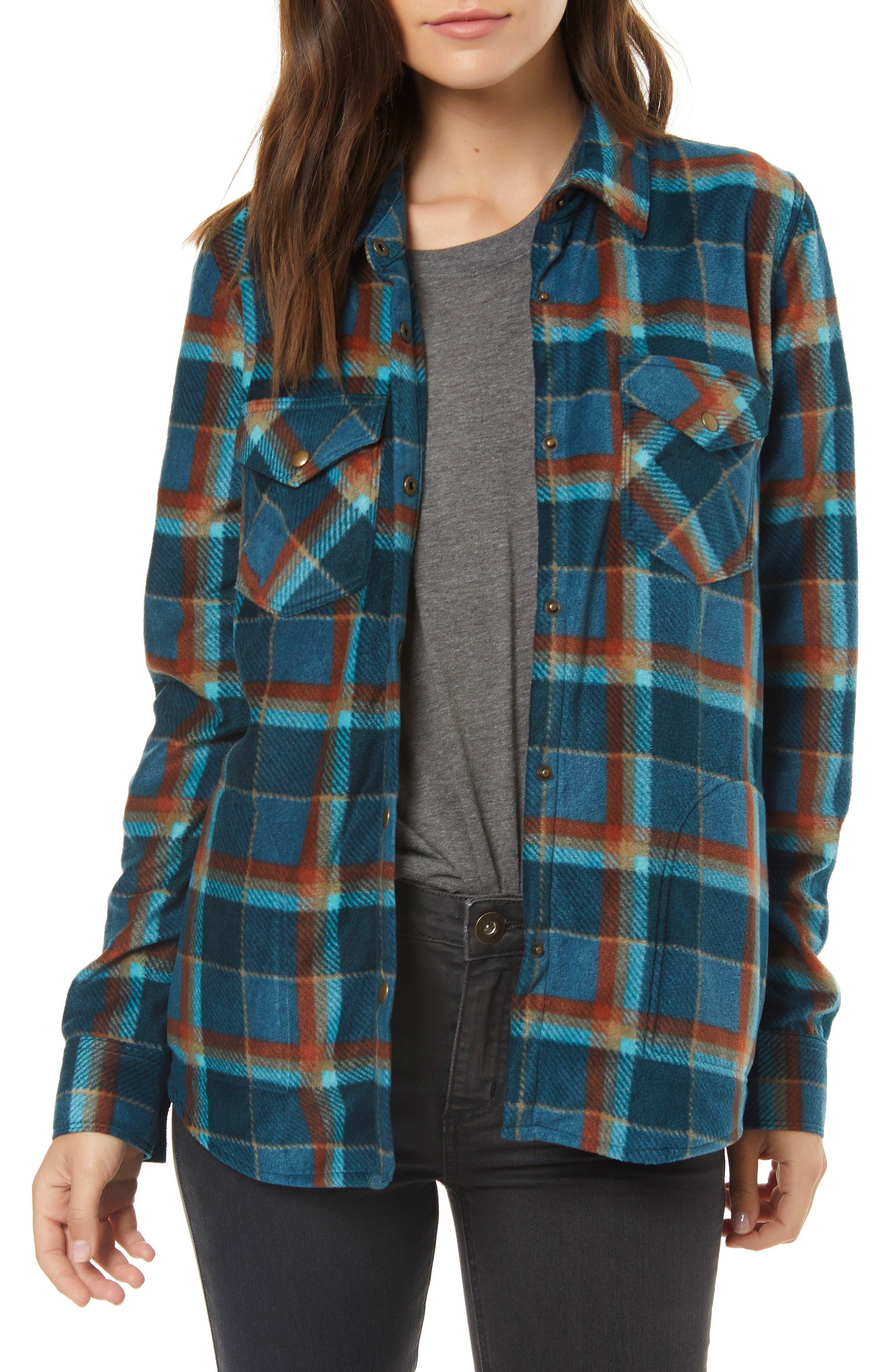 Zuma Plaid Fleece Flannel Shirt,                         Main,                         color, DEEP TEAL