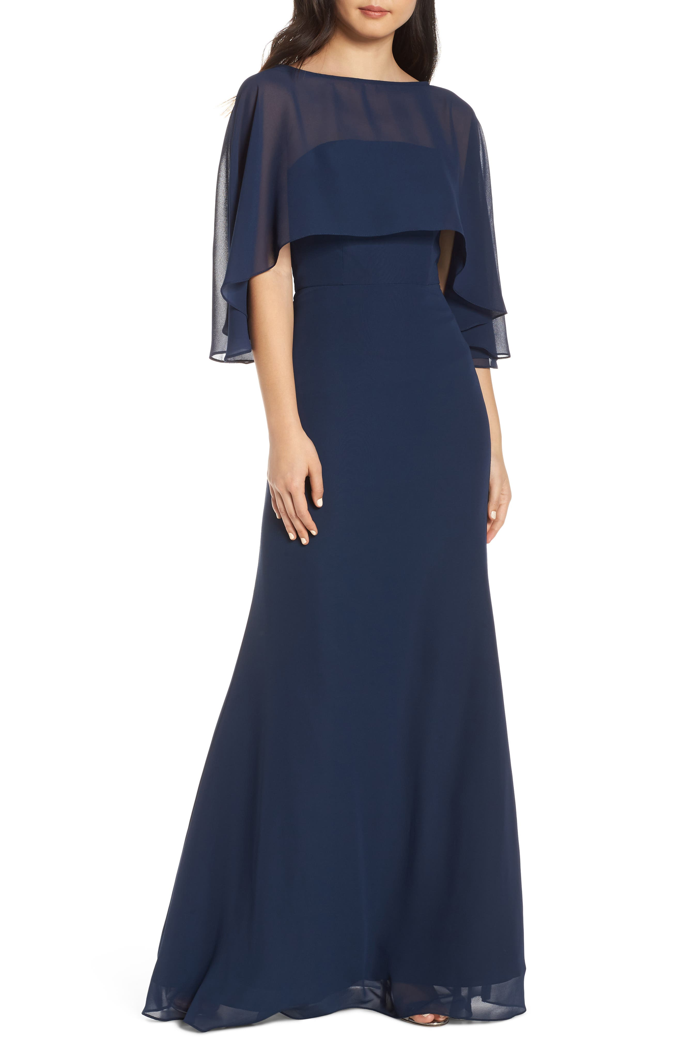 Hayley Paige Occasions Strapless Chiffon Evening Dress With Cape, Blue