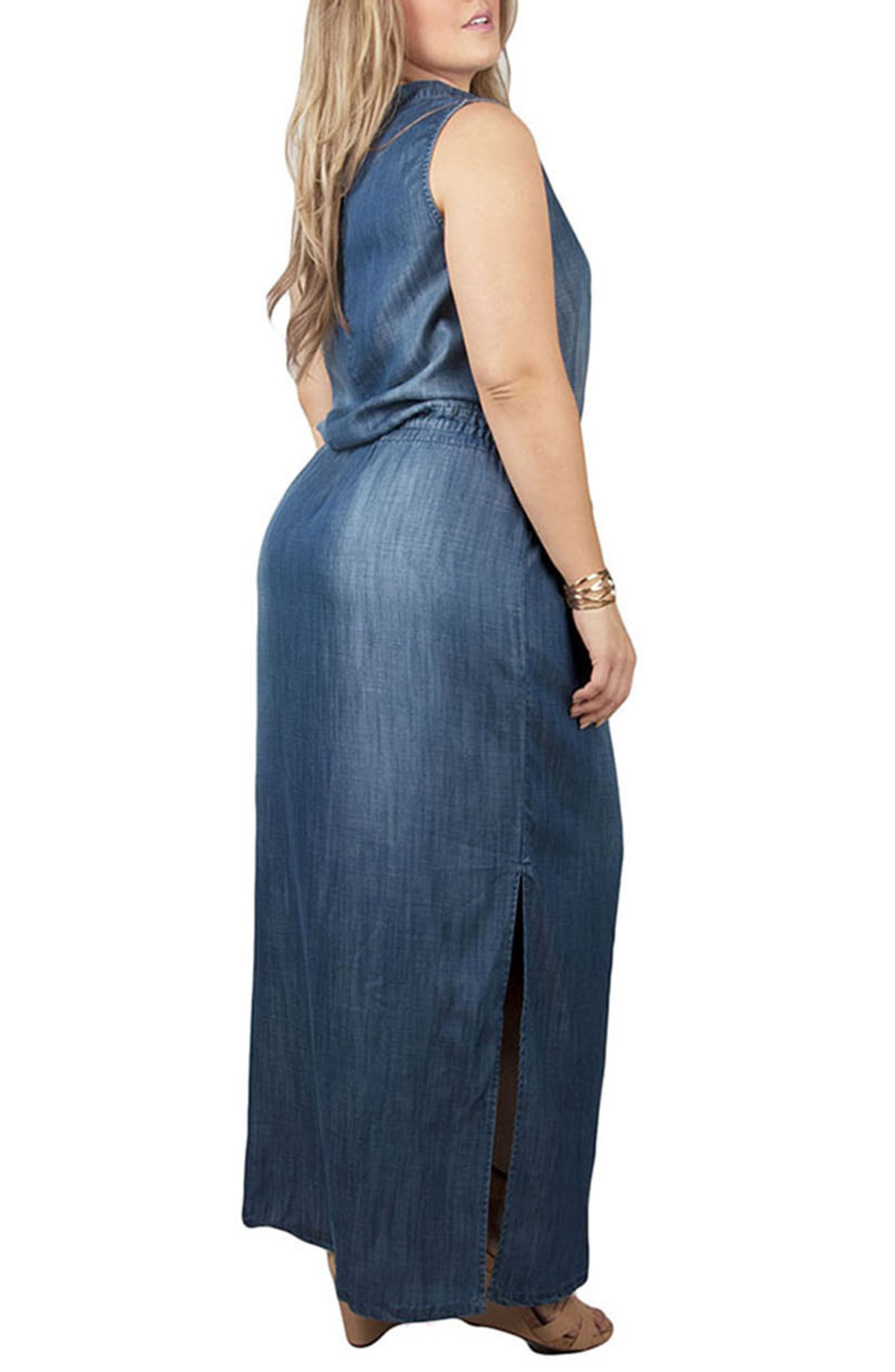 Makayla Denim Drawstring Maxi Dress,                             Alternate thumbnail 2, color,                             BLUE