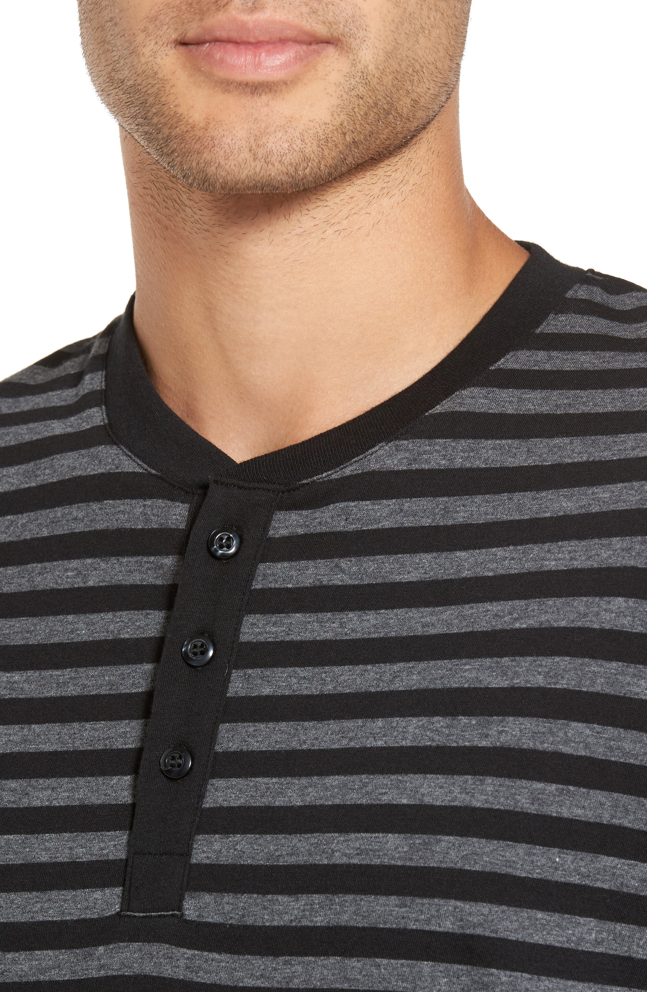 Striped Long Sleeve Henley T-Shirt,                             Alternate thumbnail 4, color,                             081