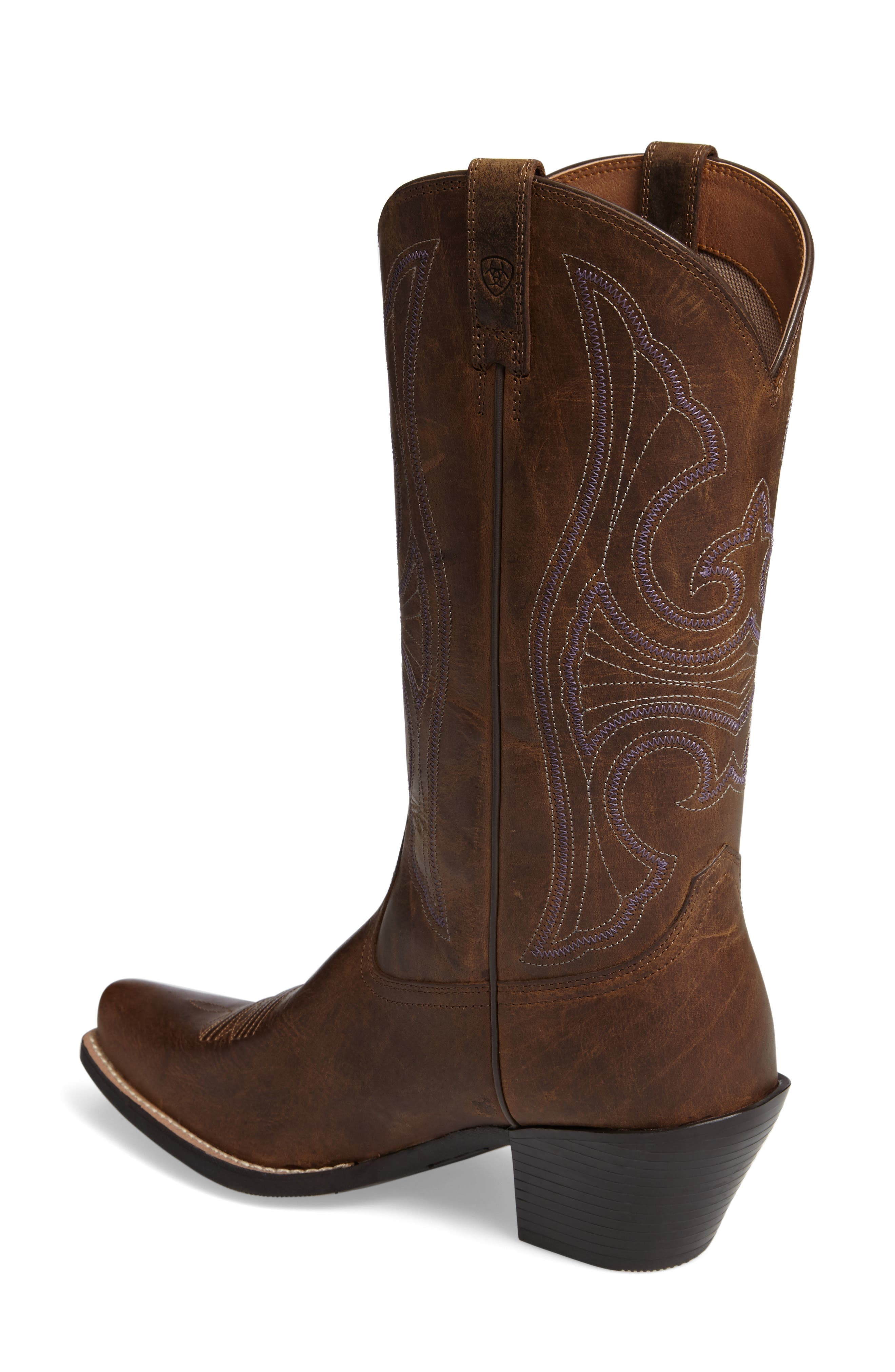 Round Up D-Toe Western Boot,                             Alternate thumbnail 2, color,                             DISTRESSED BROWN LEATHER