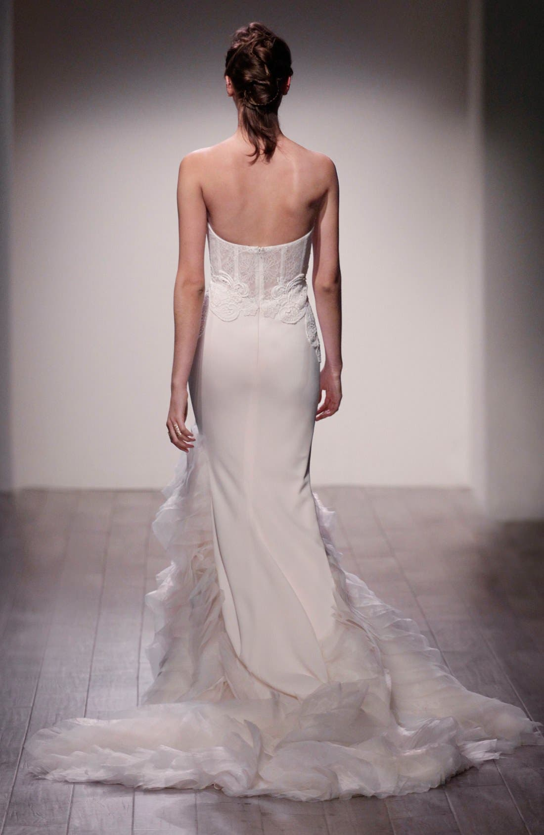 Strapless Lace, Crepe & Organza Trumpet Gown,                             Alternate thumbnail 4, color,                             IVORY