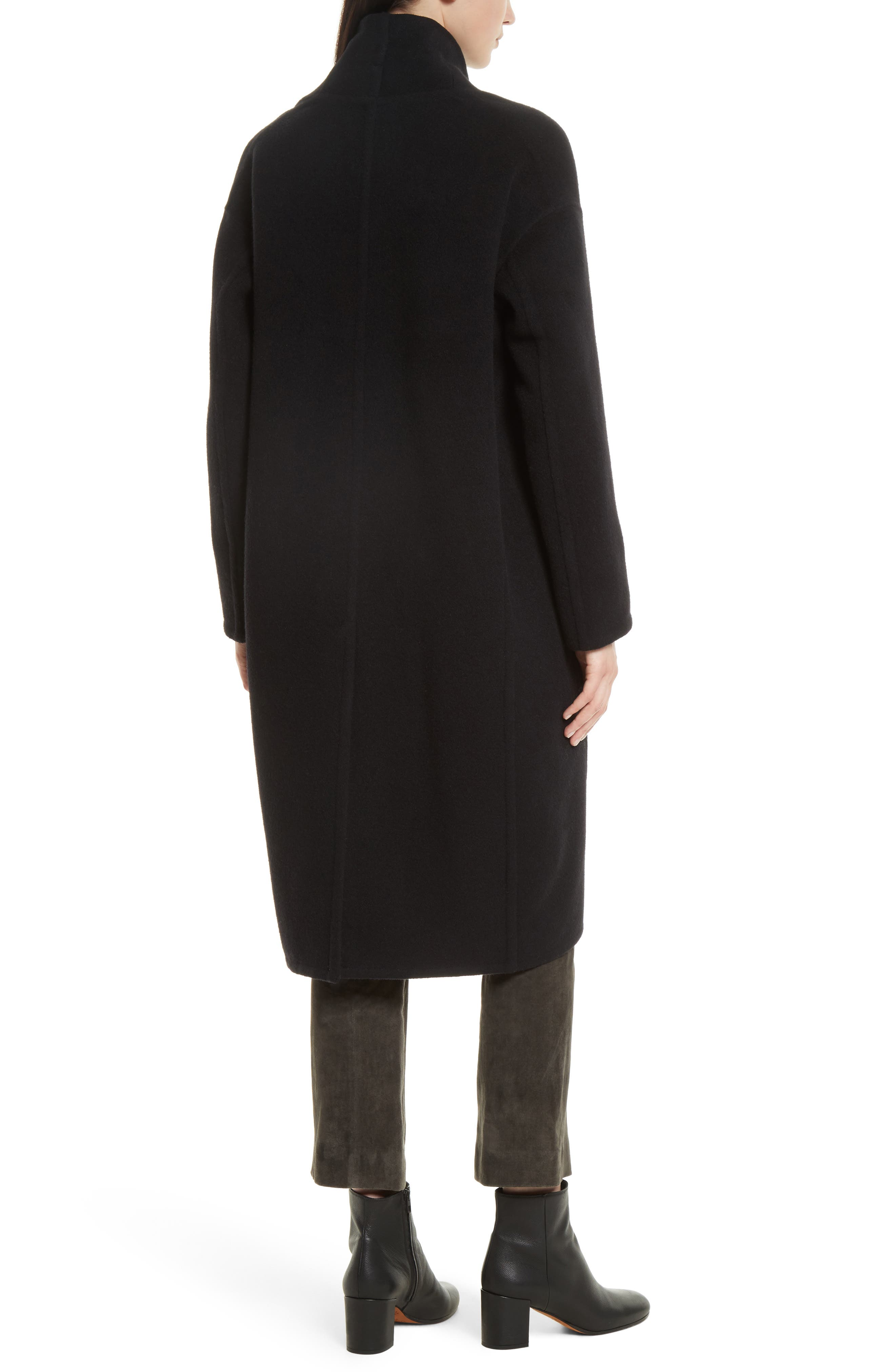 VINCE,                             High Collar Long Wool Blend Coat,                             Alternate thumbnail 2, color,                             001