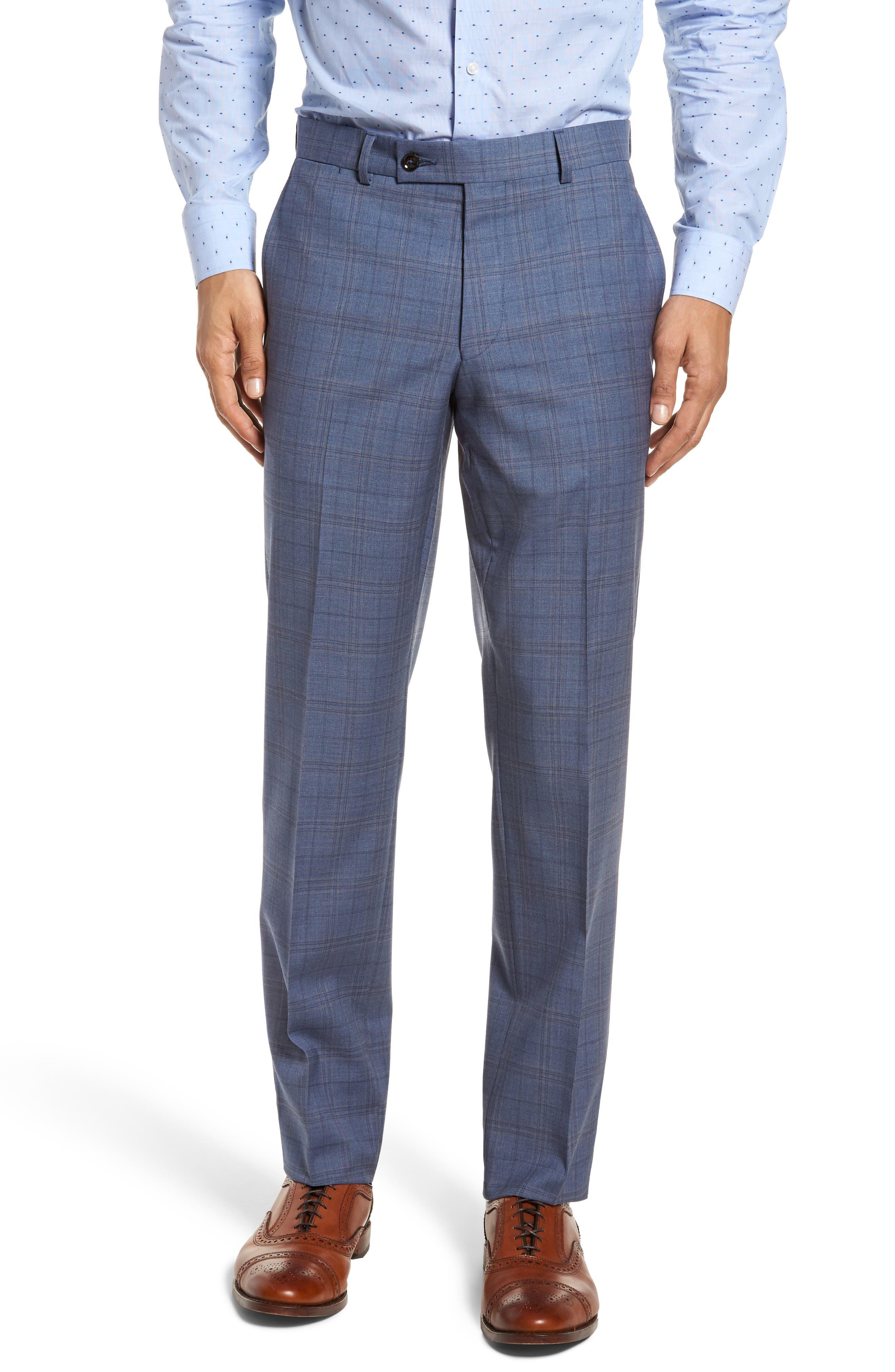Jay Trim Fit Plaid Wool Suit,                             Alternate thumbnail 6, color,                             400