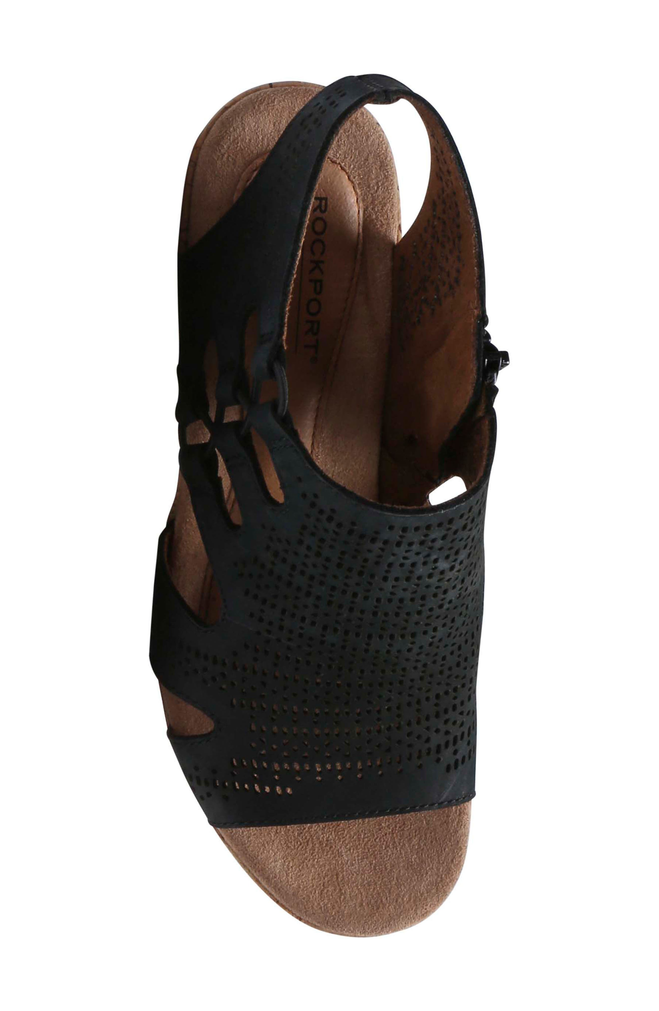 Janna Perforated Wedge Sandal,                             Alternate thumbnail 5, color,                             BLACK NUBUCK LEATHER