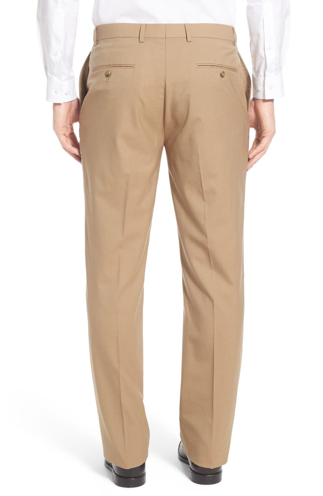 Flat Front Solid Stretch Wool Trousers,                             Alternate thumbnail 2, color,                             260