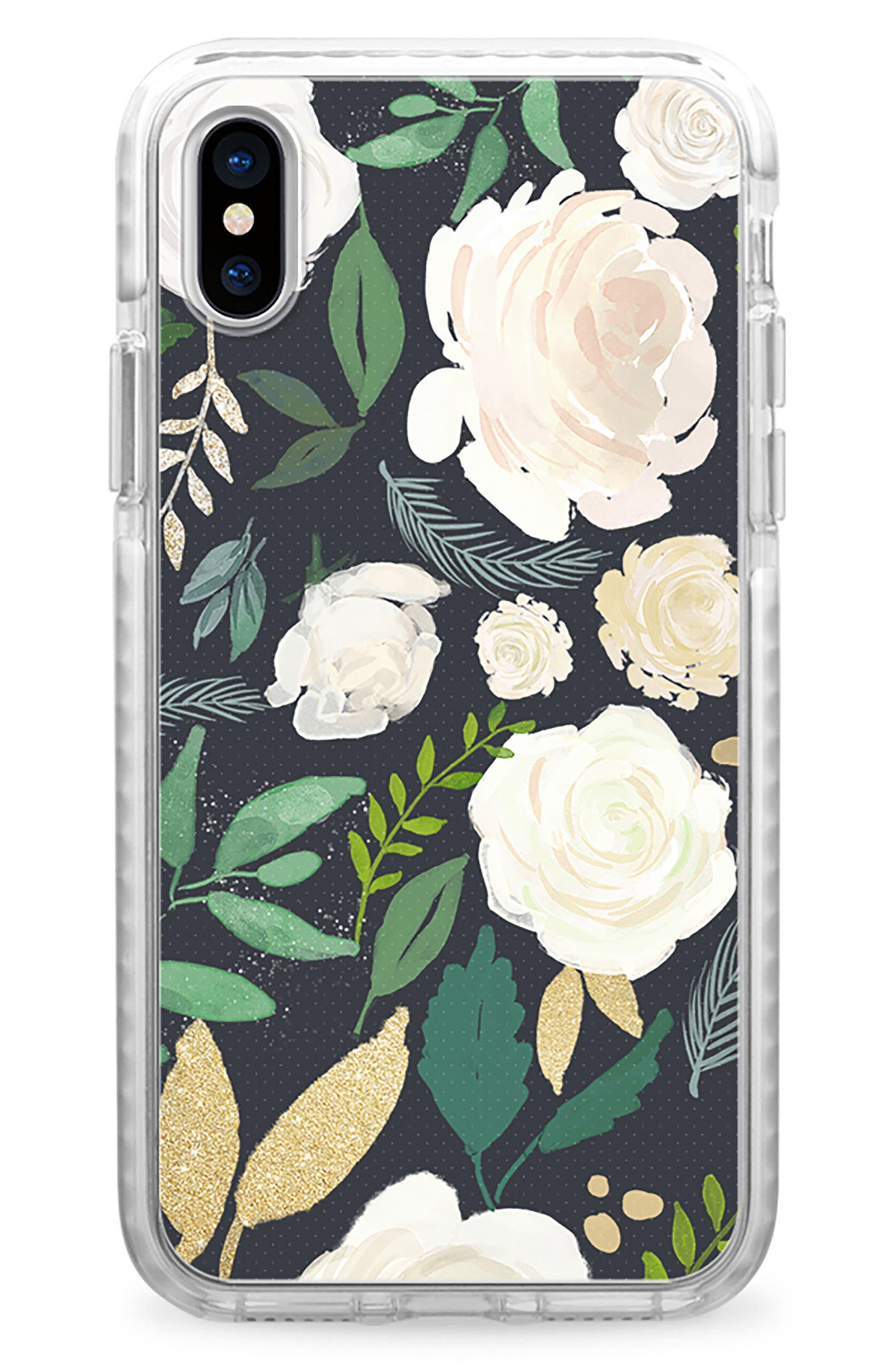 Black & Gold Floral iPhone X & Xs Case,                             Main thumbnail 1, color,