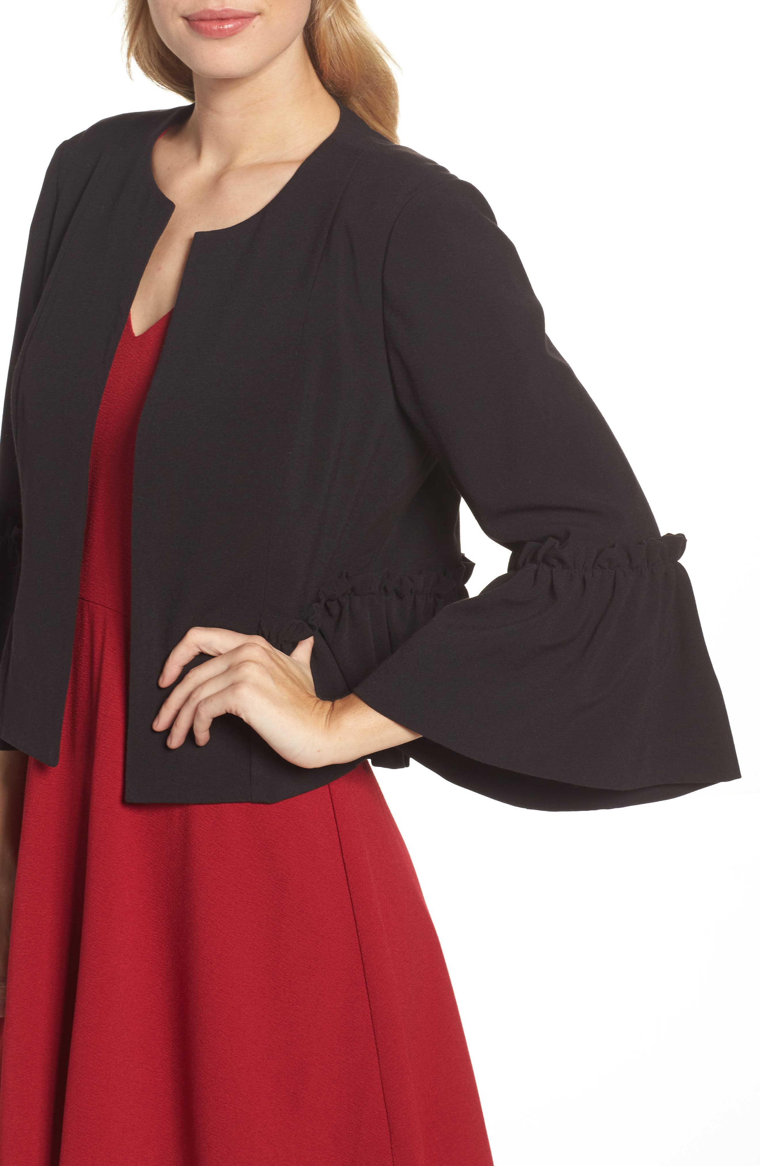 Bell Sleeve Crop Jacket,                             Alternate thumbnail 4, color,                             001