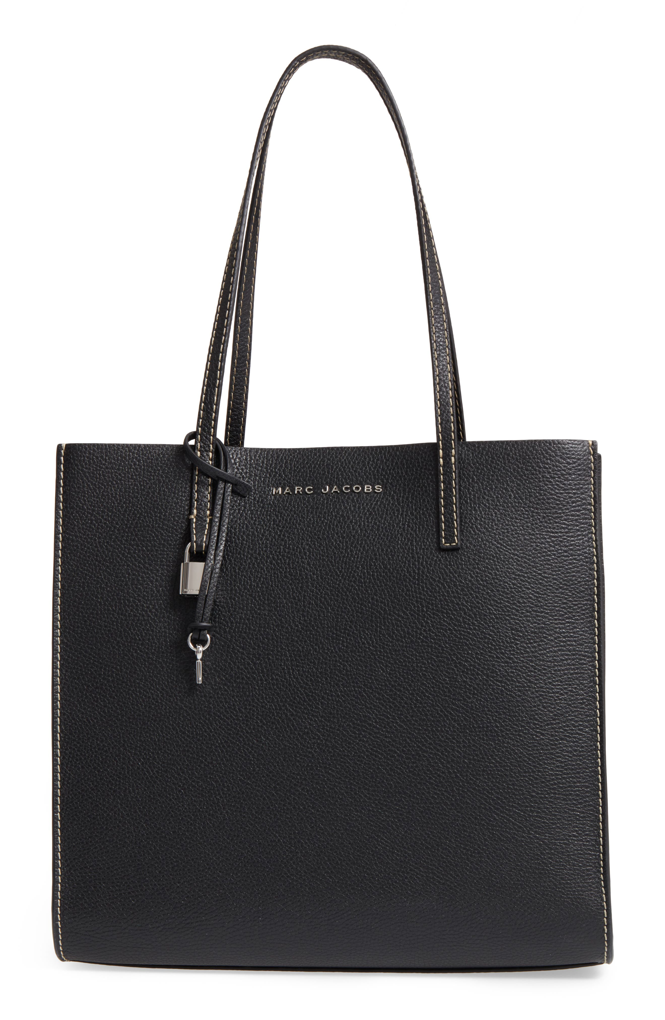 The Grind East/West Leather Shopper,                         Main,                         color, BLACK