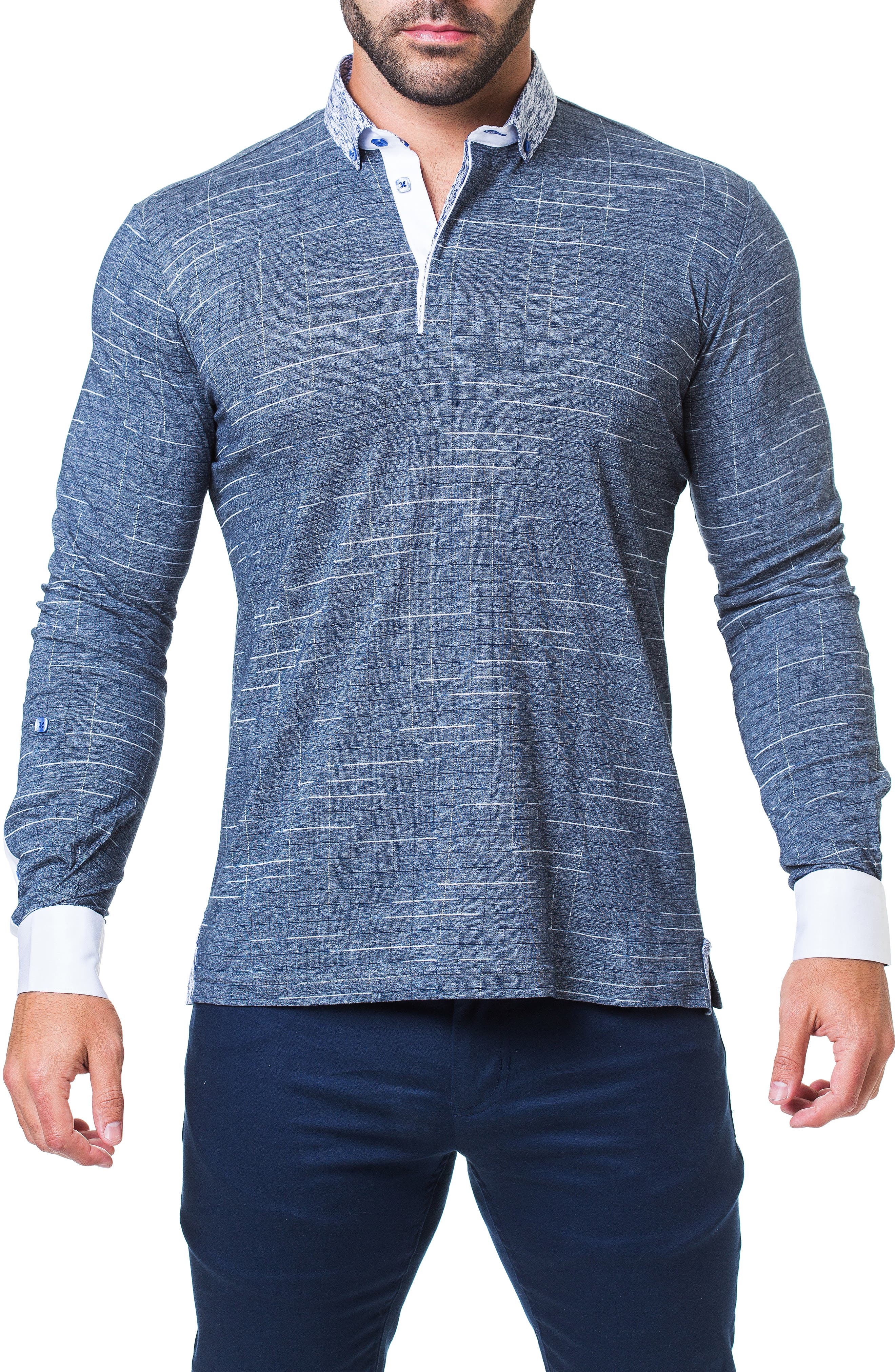 Newton Trim Fit Check Long Sleeve Polo,                         Main,                         color, 420
