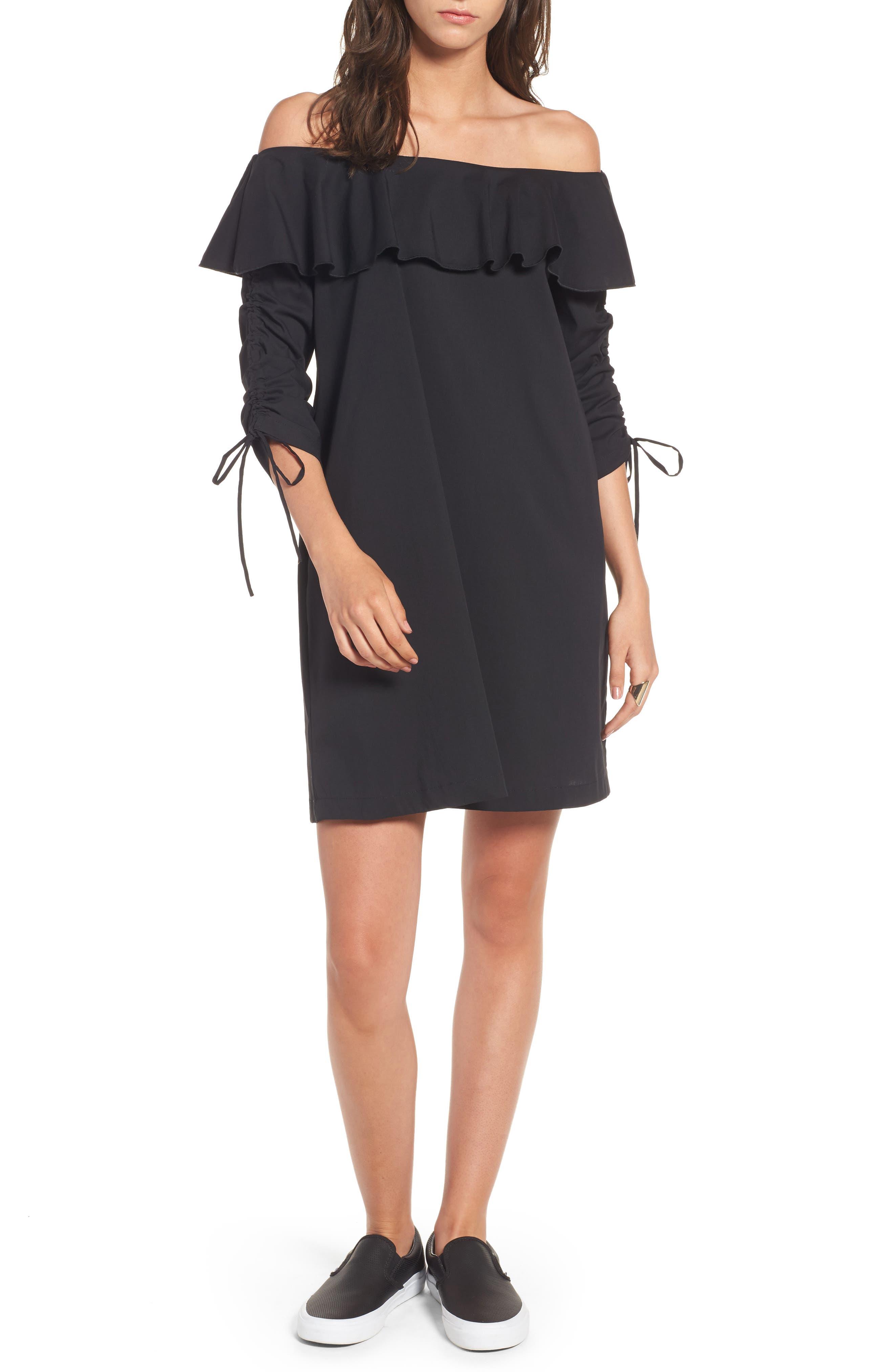 Cinch Sleeve Off the Shoulder Dress,                         Main,                         color, 001