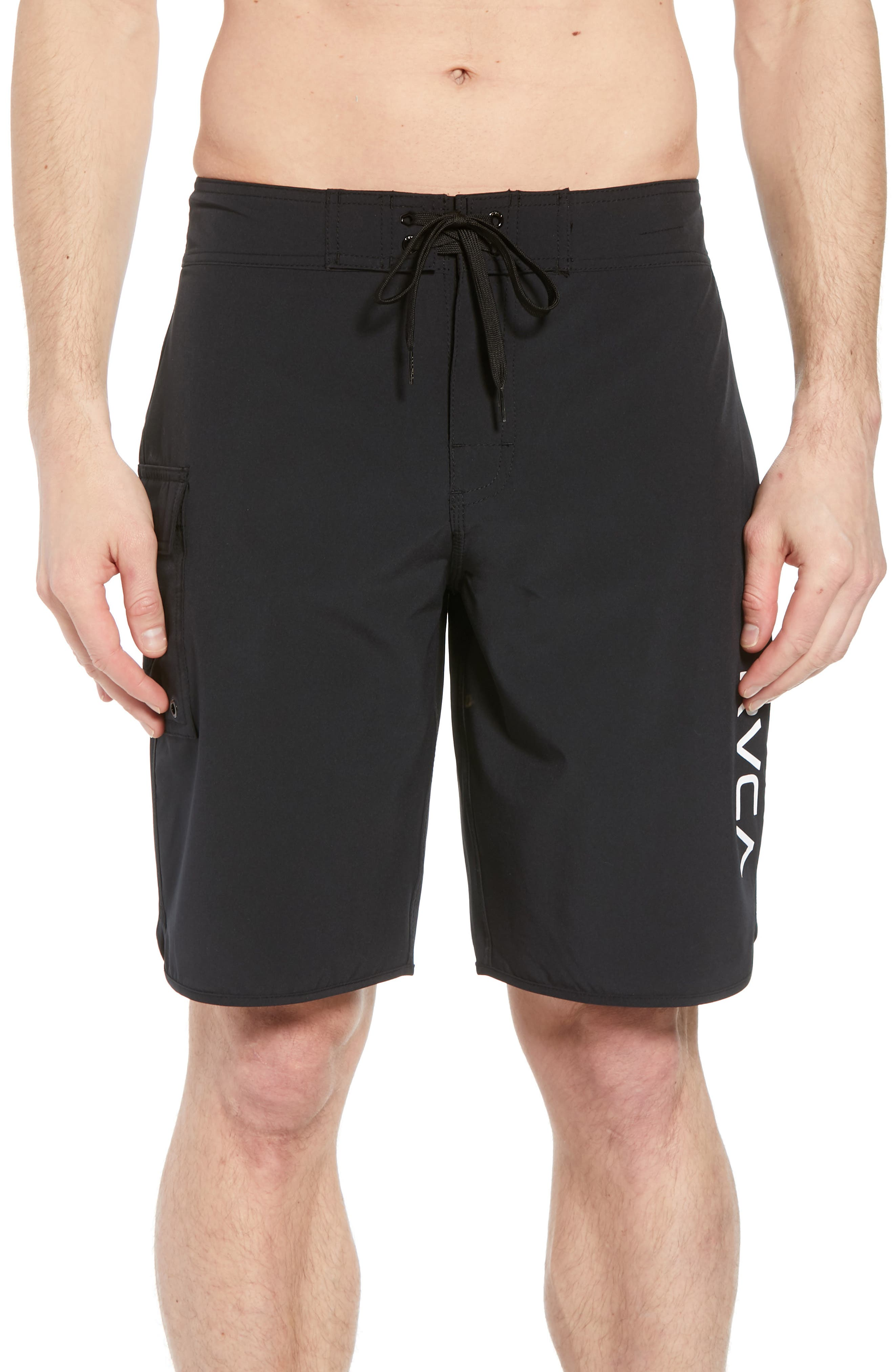 'Eastern' Scalloped Hem Board Shorts,                             Main thumbnail 1, color,                             ALL BLACK