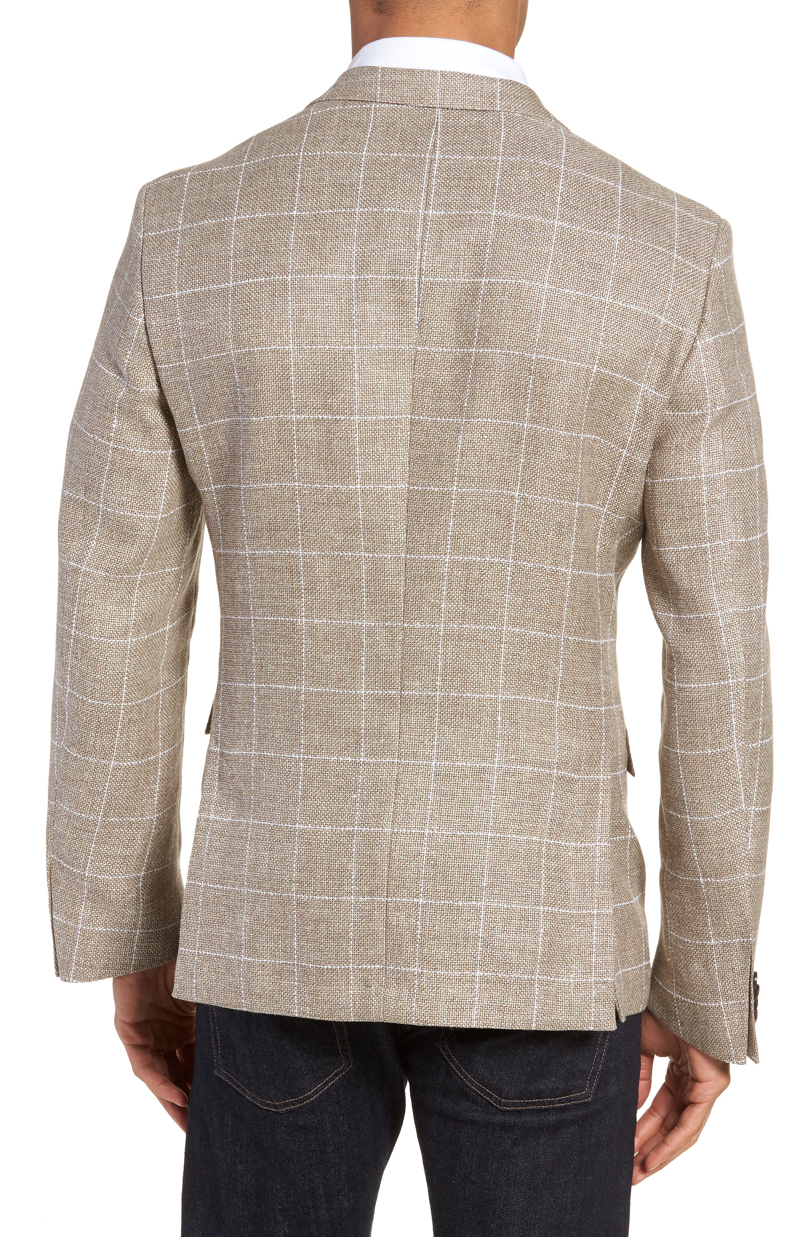 Nobis Trim Fit Windowpane Wool & Linen Sport Coat,                             Alternate thumbnail 2, color,                             250