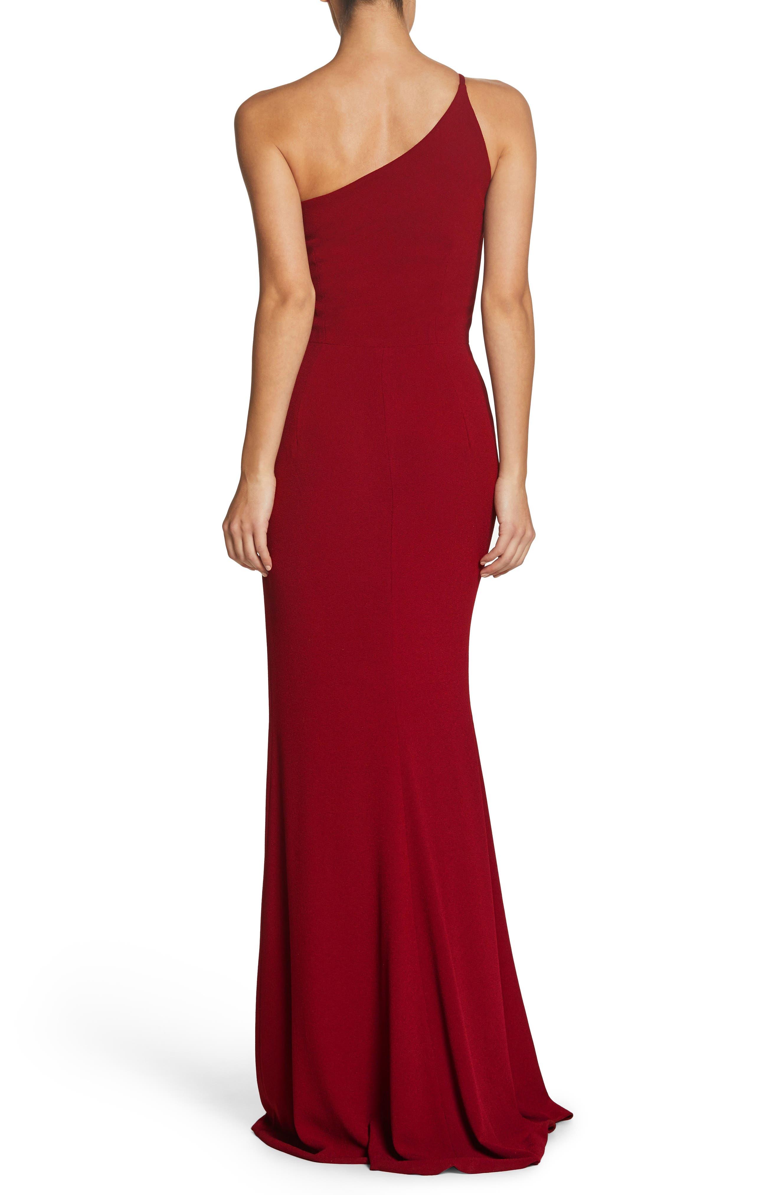 Amy One-Shoulder Crepe Gown,                             Alternate thumbnail 2, color,                             GARNET
