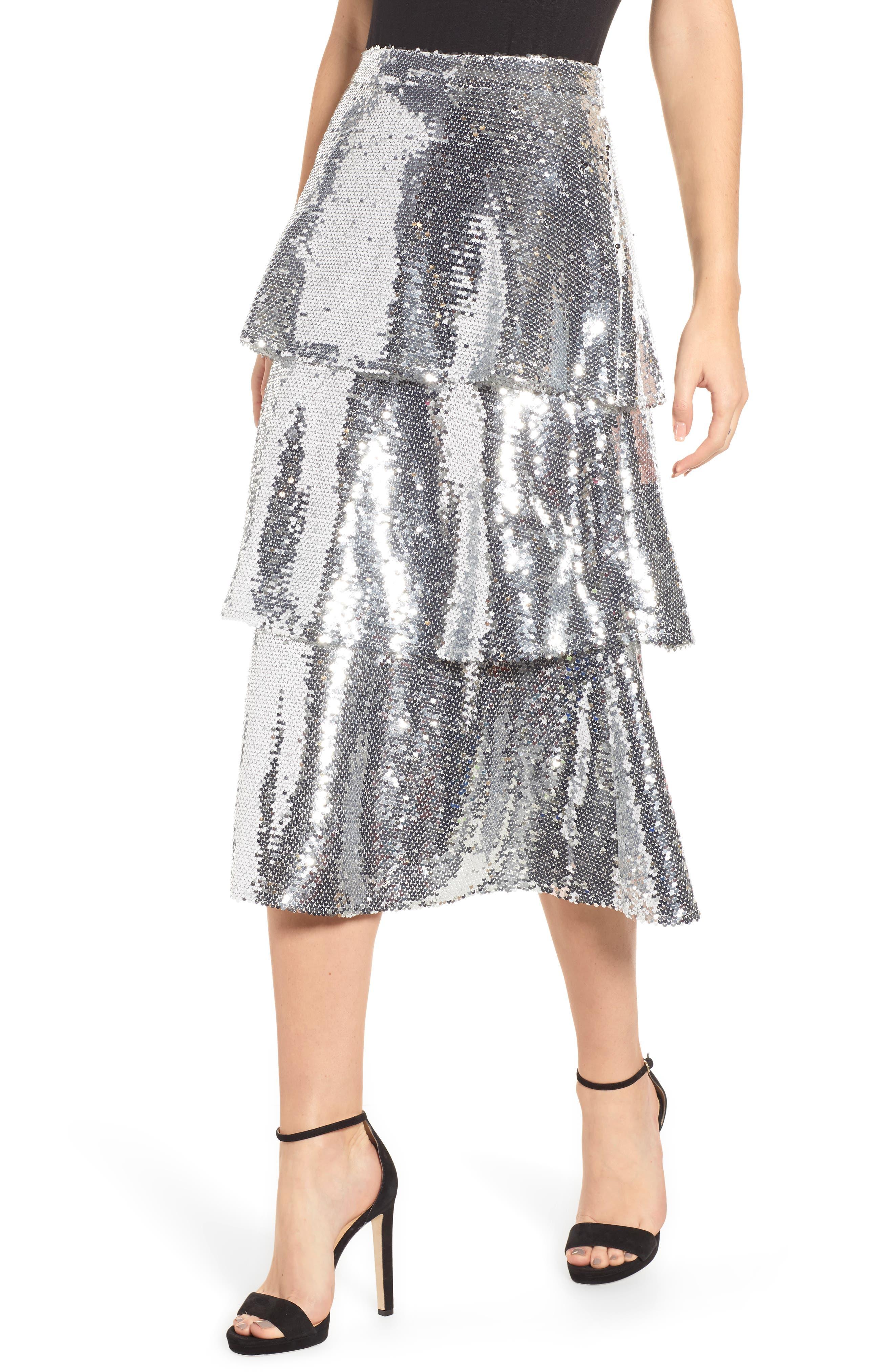 Tiered Sequin Midi Skirt,                             Main thumbnail 1, color,                             040