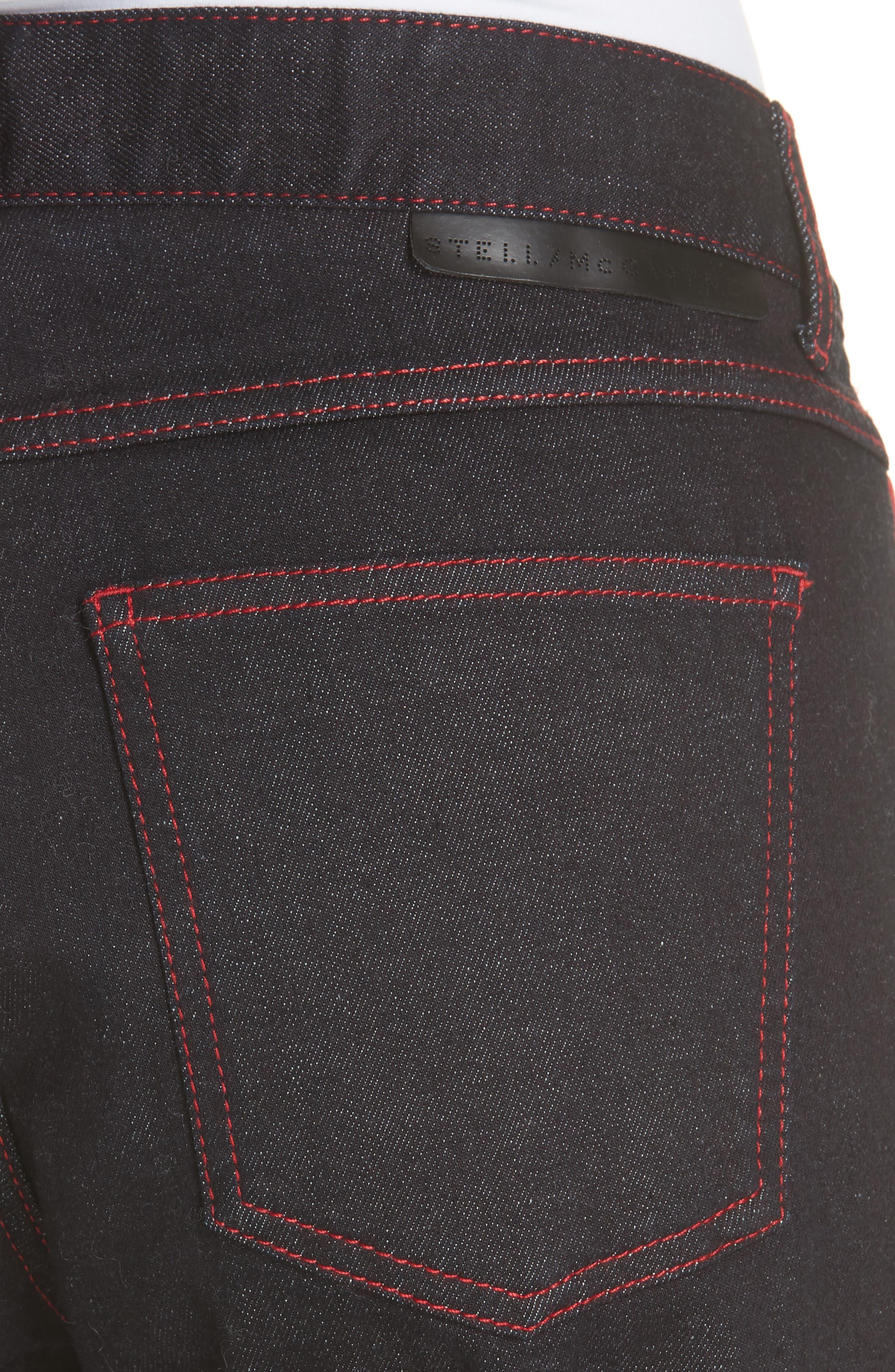 Red Piping Raw Denim Skinny Boyfriend Jeans,                             Alternate thumbnail 4, color,                             403