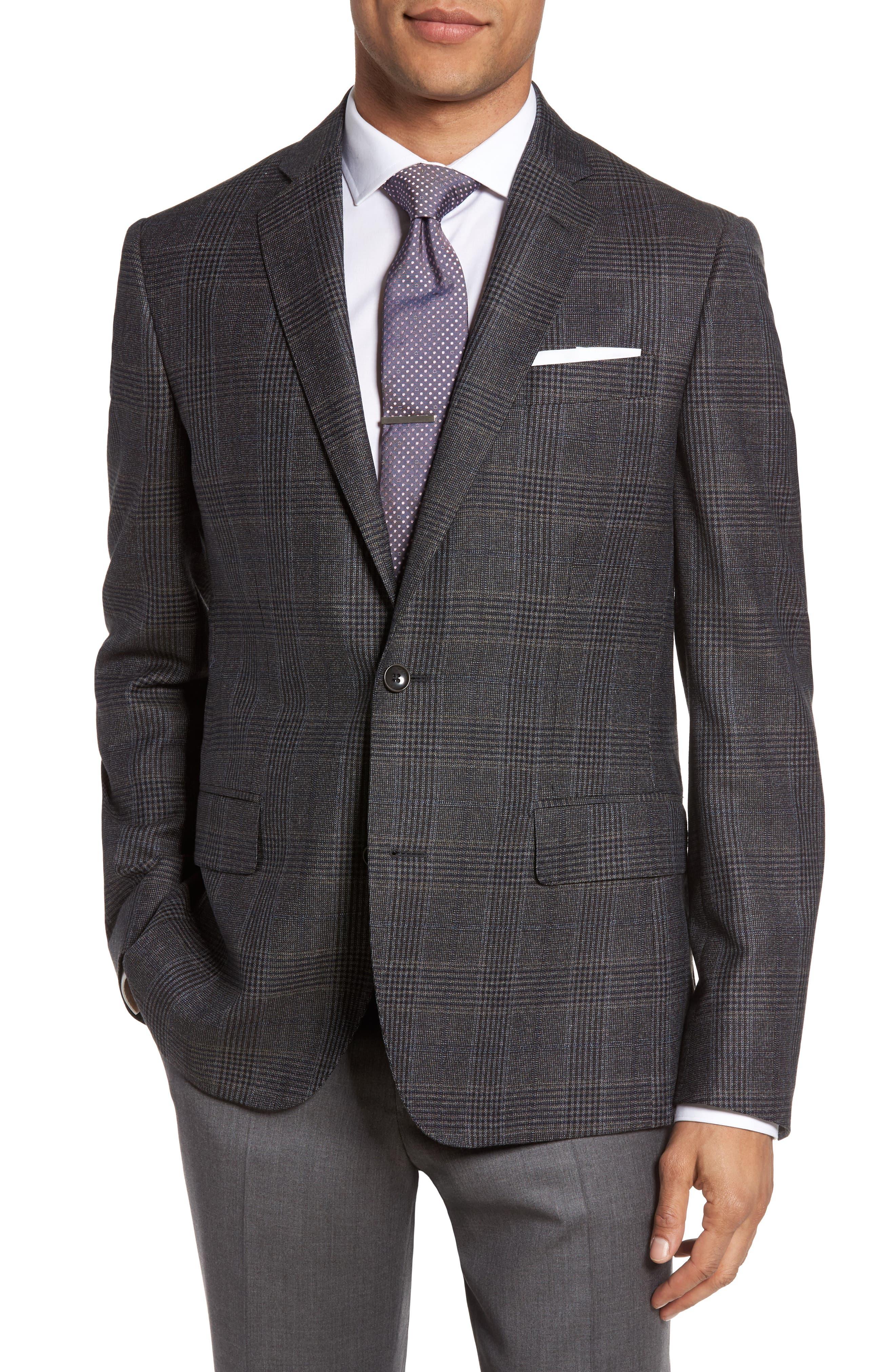 Classic Fit Plaid Wool Sport Coat,                             Main thumbnail 1, color,                             099