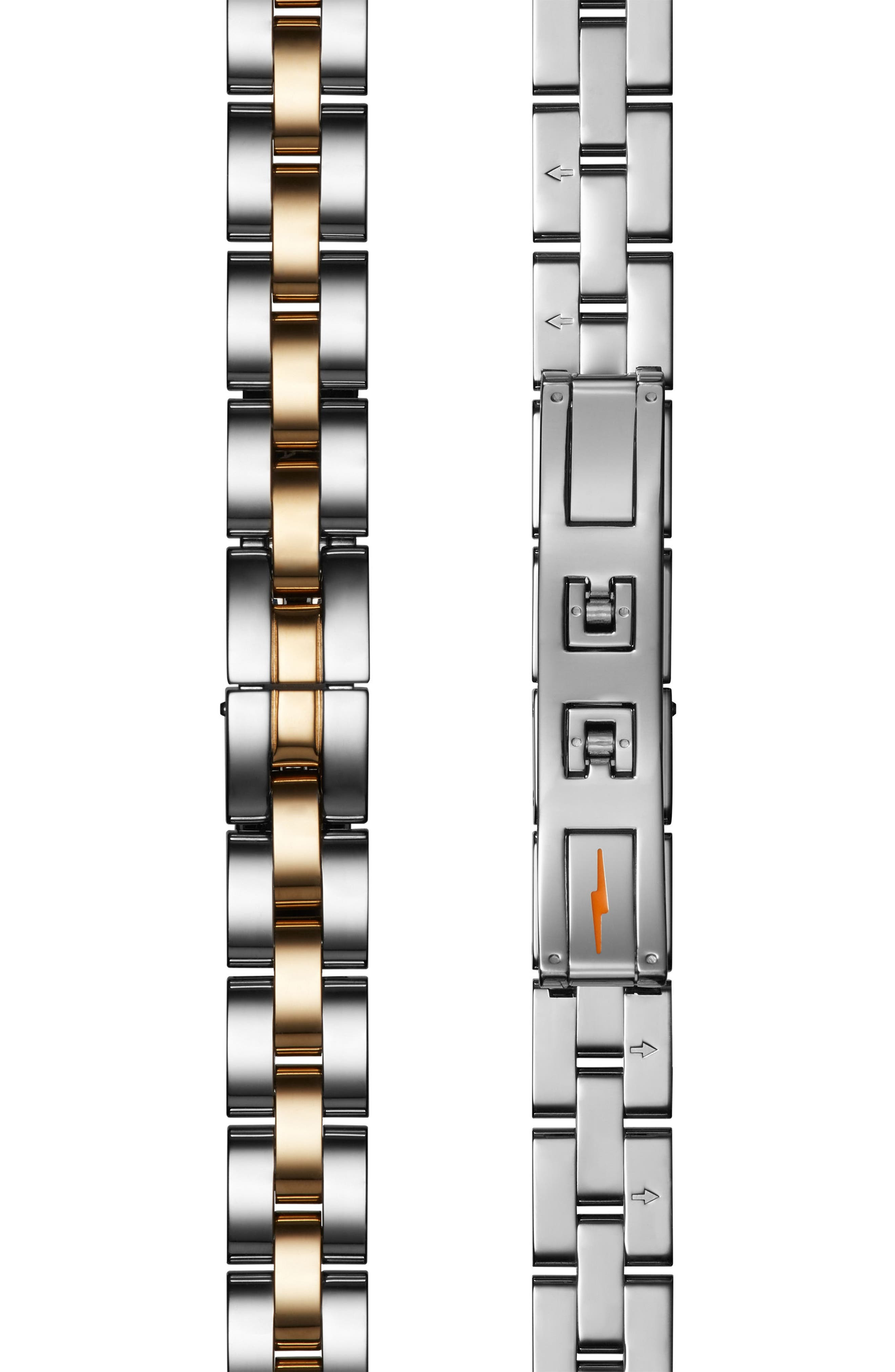 'The Birdy' Bracelet Watch, 34mm,                             Alternate thumbnail 4, color,                             SILVER/ BEDROCK MOP/ GOLD