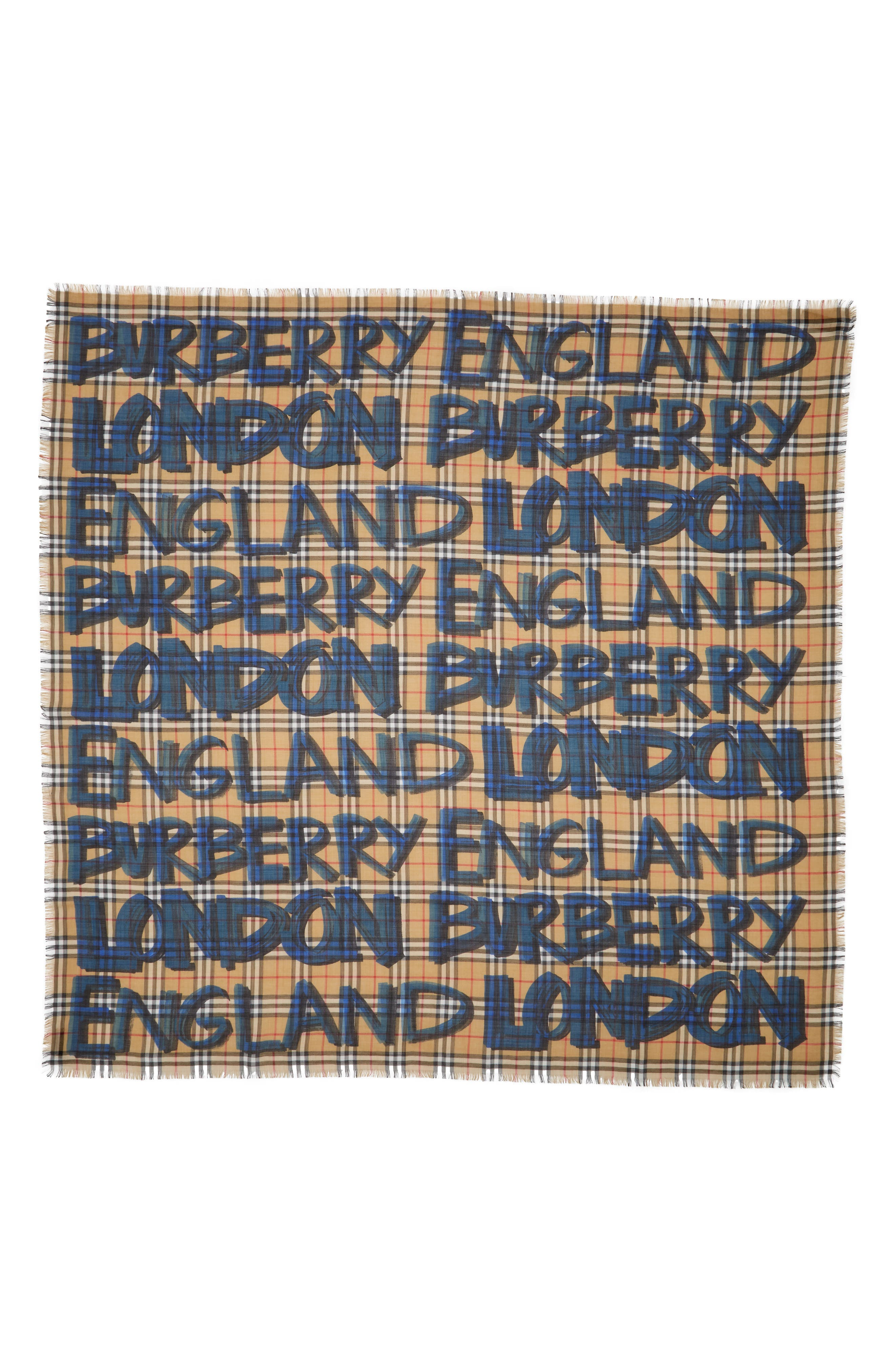Marker Text Check Print Wool & Silk Scarf,                             Main thumbnail 1, color,                             BRILLIANT BLUE