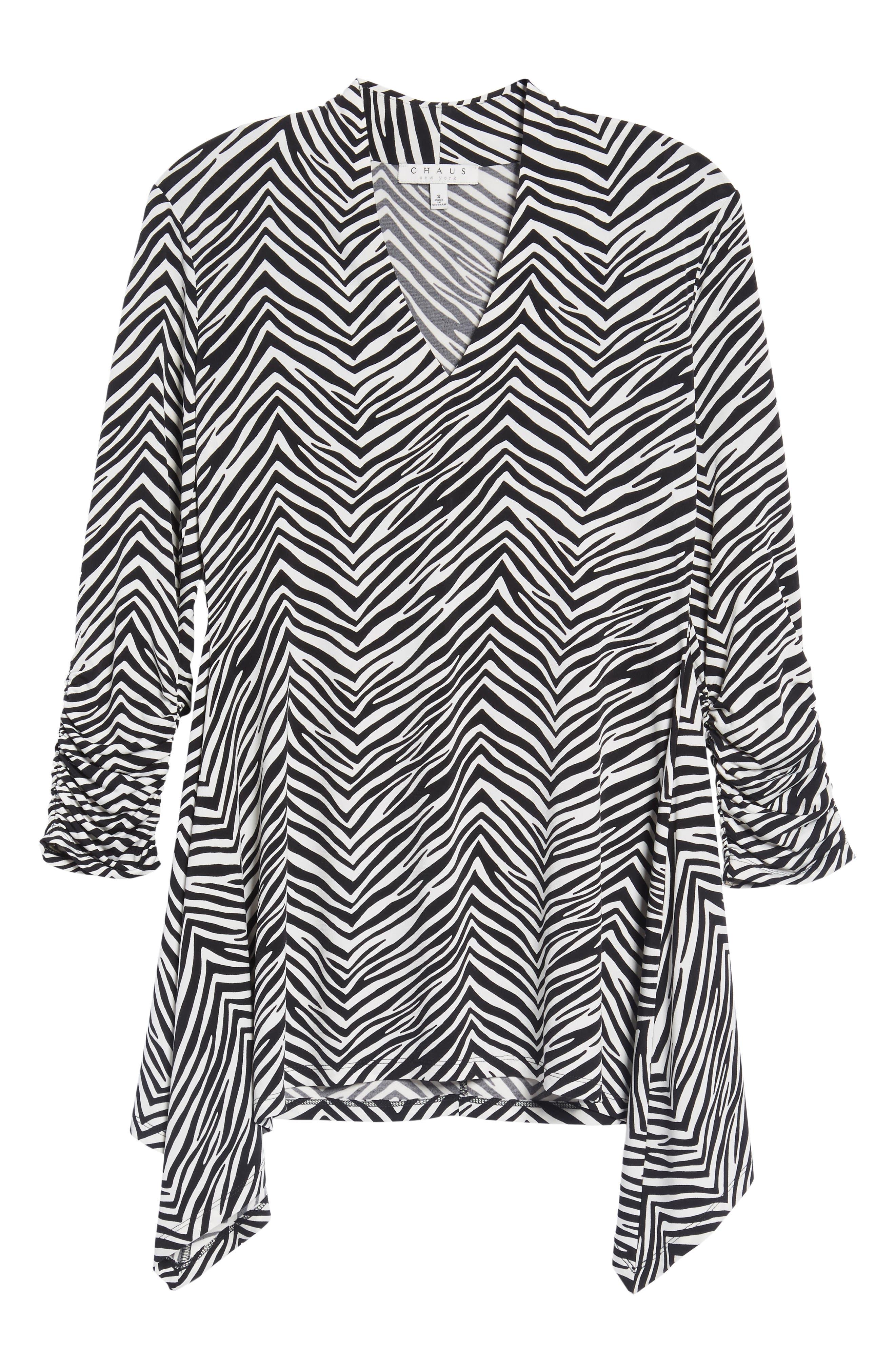 Zebra Print Ruched Top,                             Alternate thumbnail 6, color,                             010