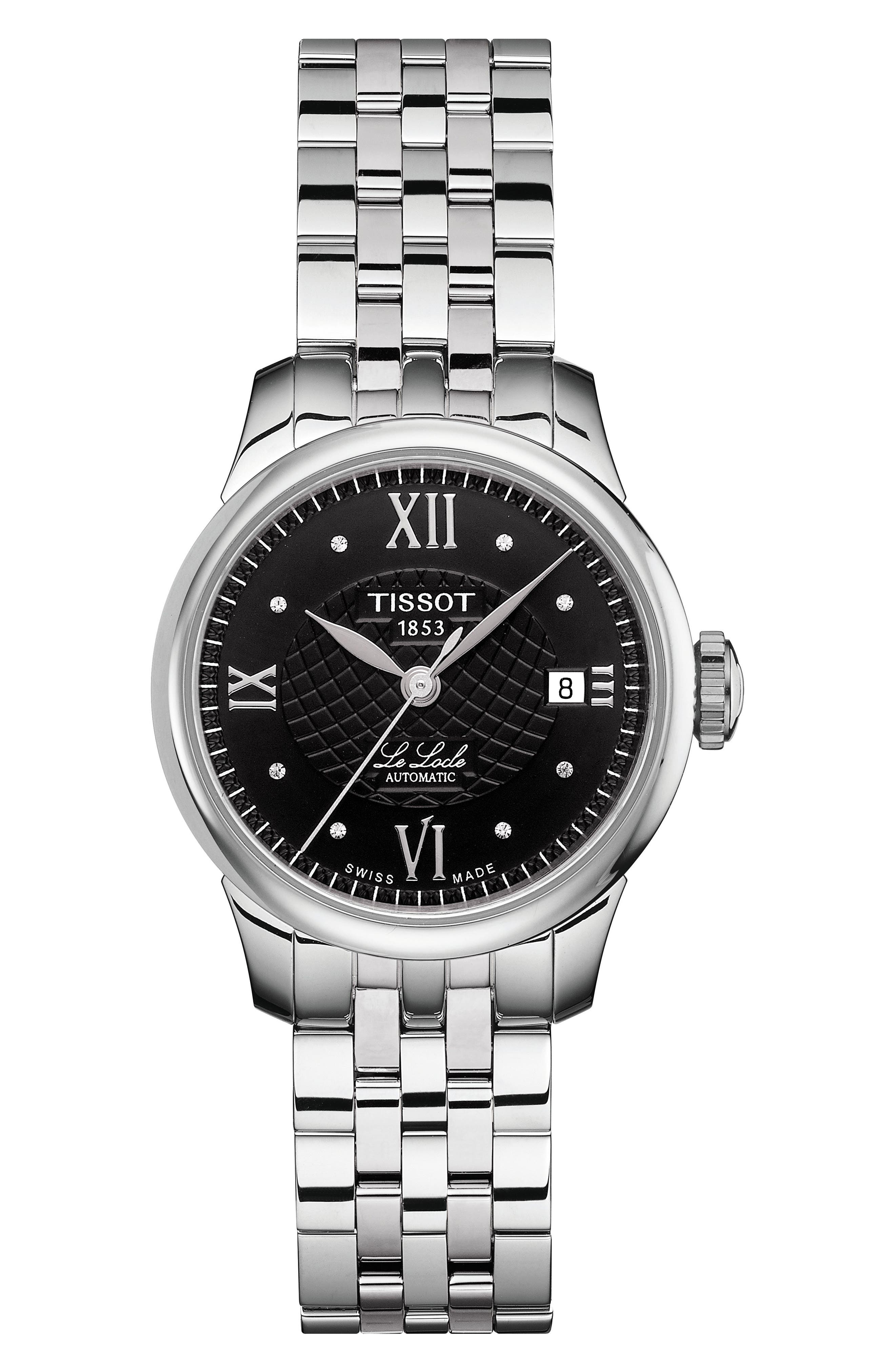TISSOT Le Locle Automatic Lady Diamond Dial Bracelet Watch, 25Mm in Silver/ Black/ Silver