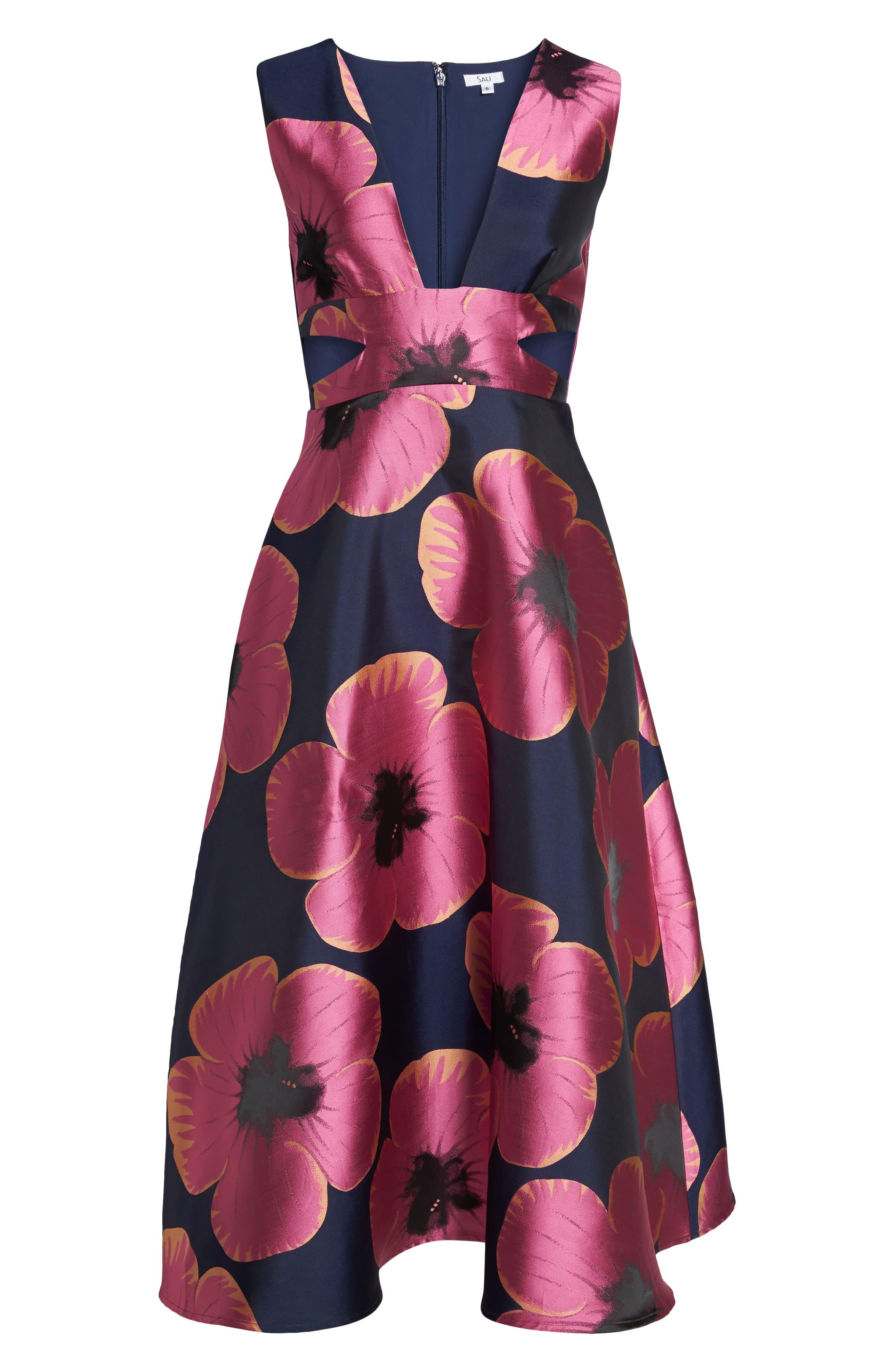 Serena Jacquard Midi Dress,                             Alternate thumbnail 6, color,                             464