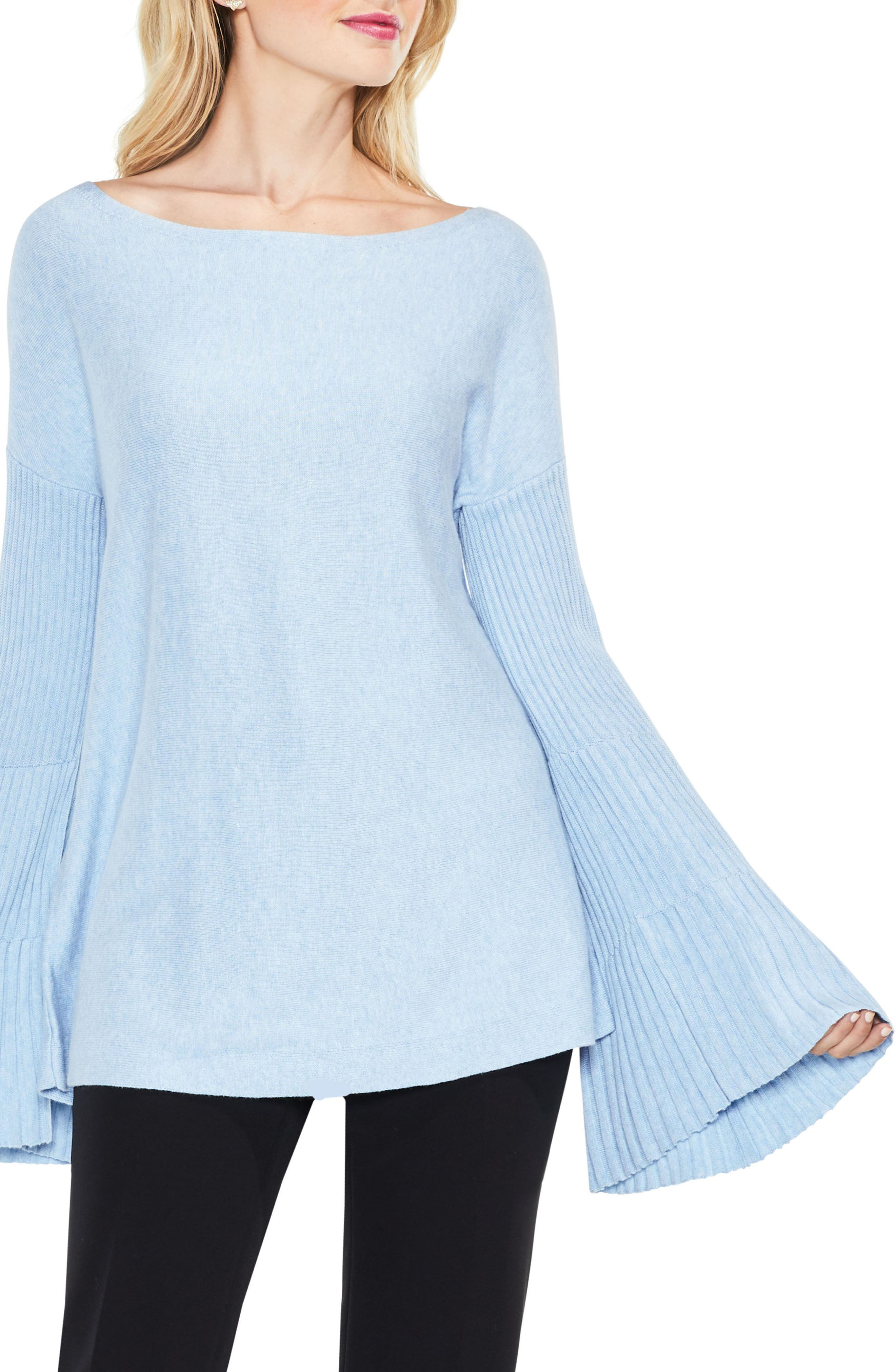 Bell Sleeve Ribbed Sweater,                             Main thumbnail 6, color,