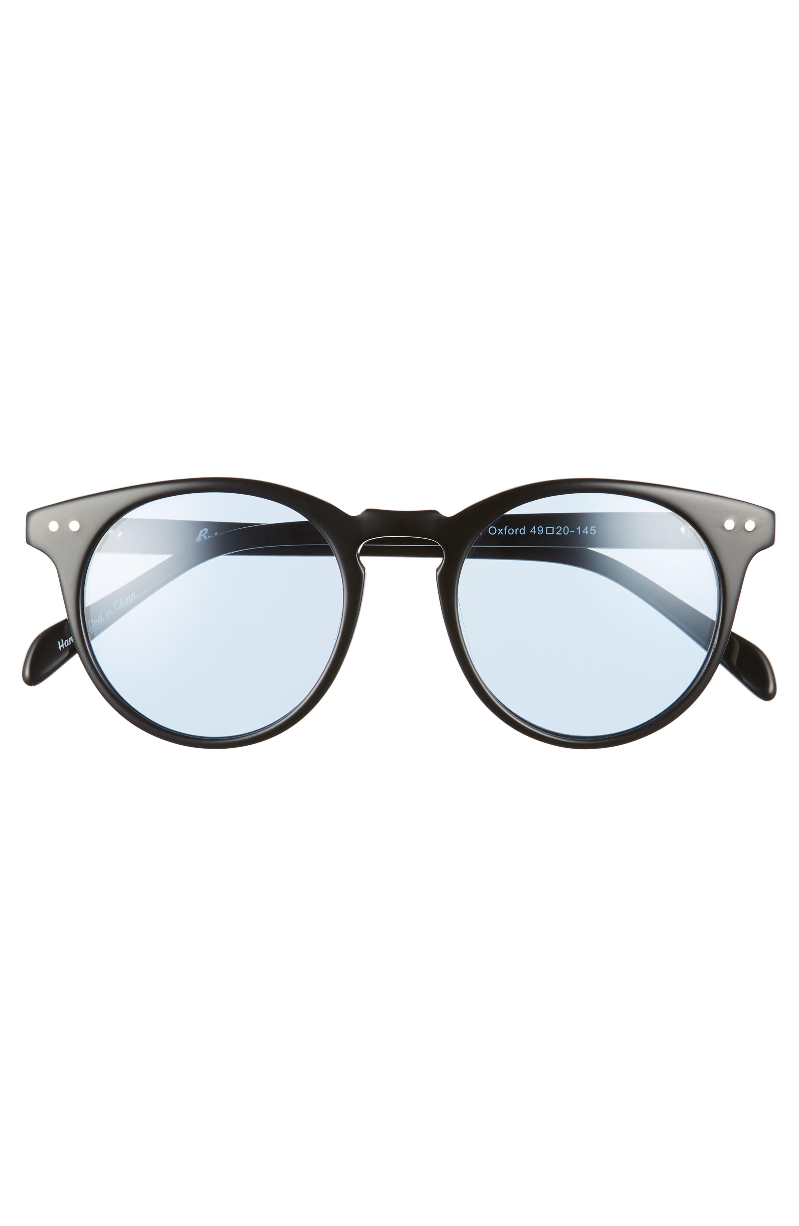 Oxford 49mm Sunglasses,                             Alternate thumbnail 3, color,                             BLACK/ ARCTIC BLUE