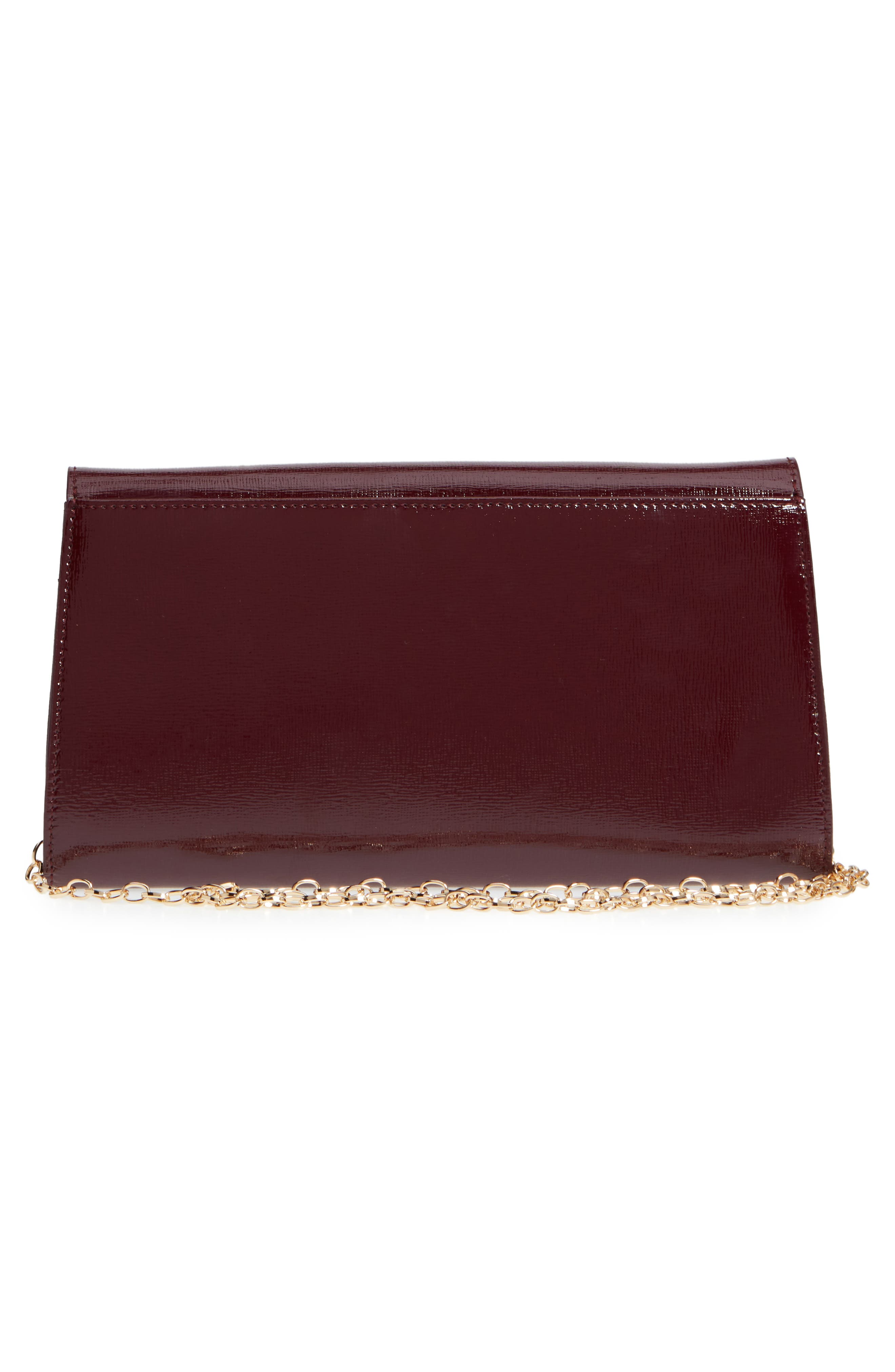 Leather Clutch,                             Alternate thumbnail 3, color,                             BURGUNDY ROYALE