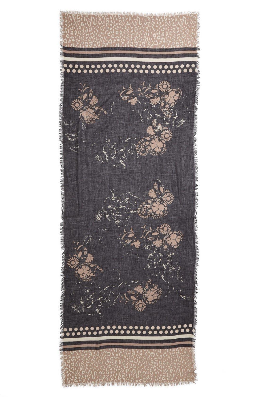 NORDSTROM,                             Vintage Floral Cashmere & Silk Scarf,                             Alternate thumbnail 2, color,                             001