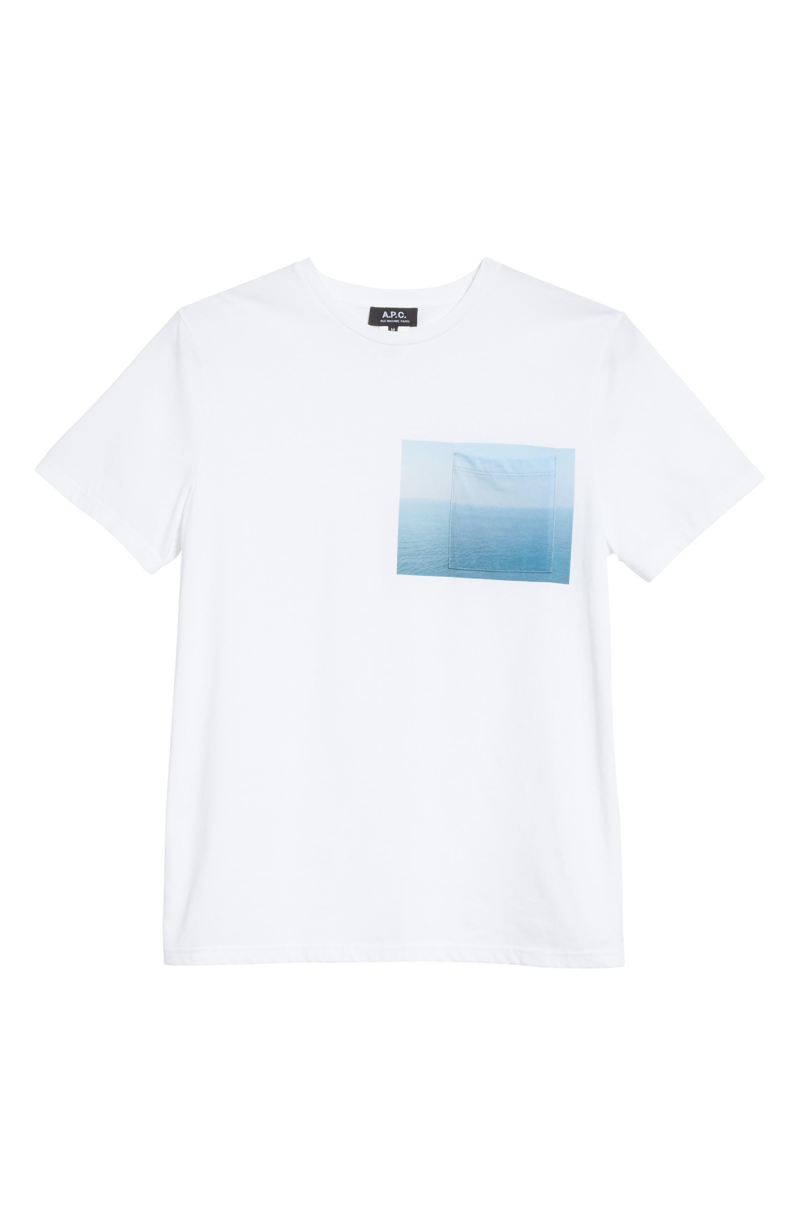 Seaview Print Pocket T-Shirt,                             Alternate thumbnail 6, color,                             WHITE