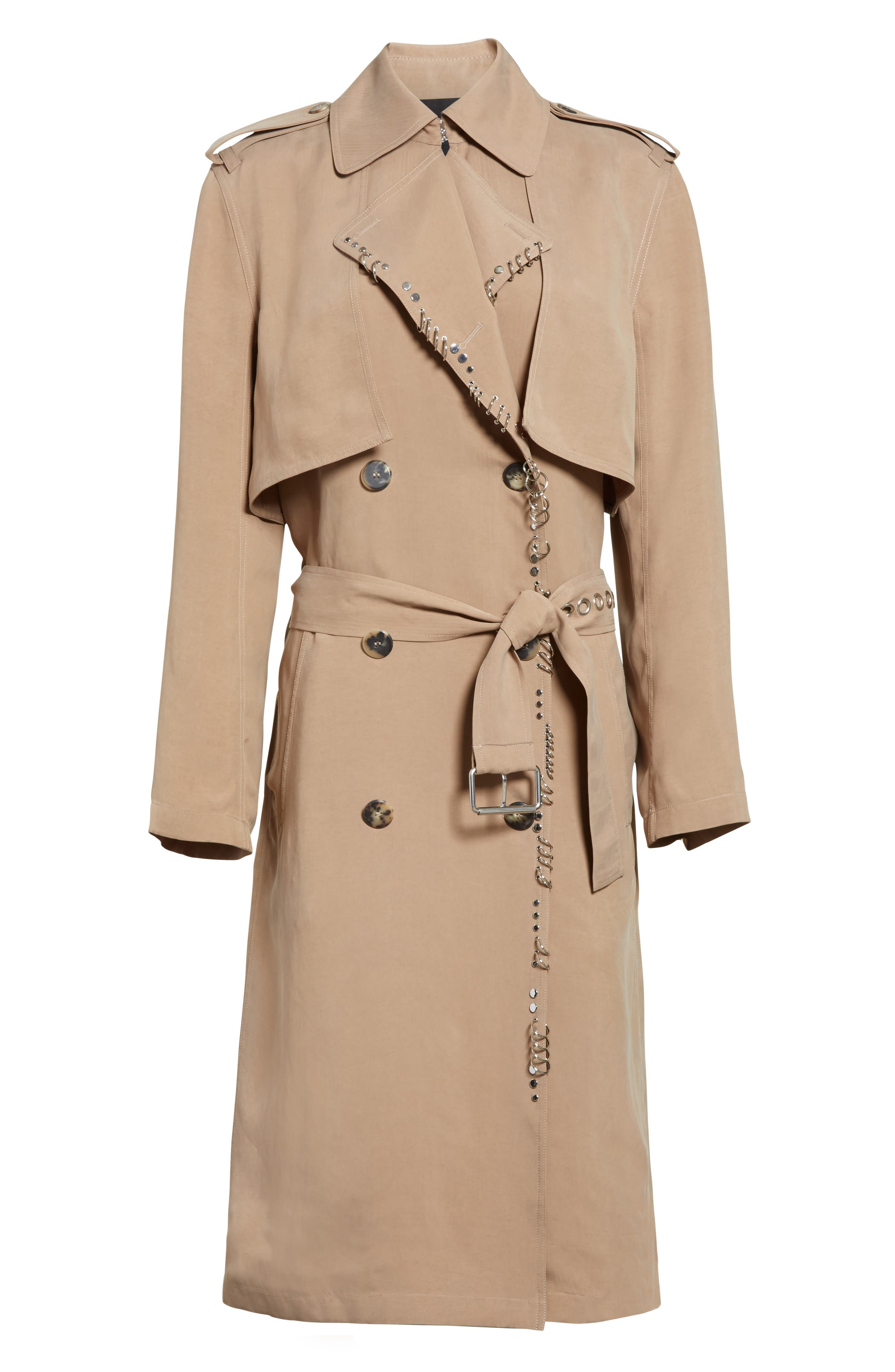 Pierced Trench Coat,                             Alternate thumbnail 5, color,                             200