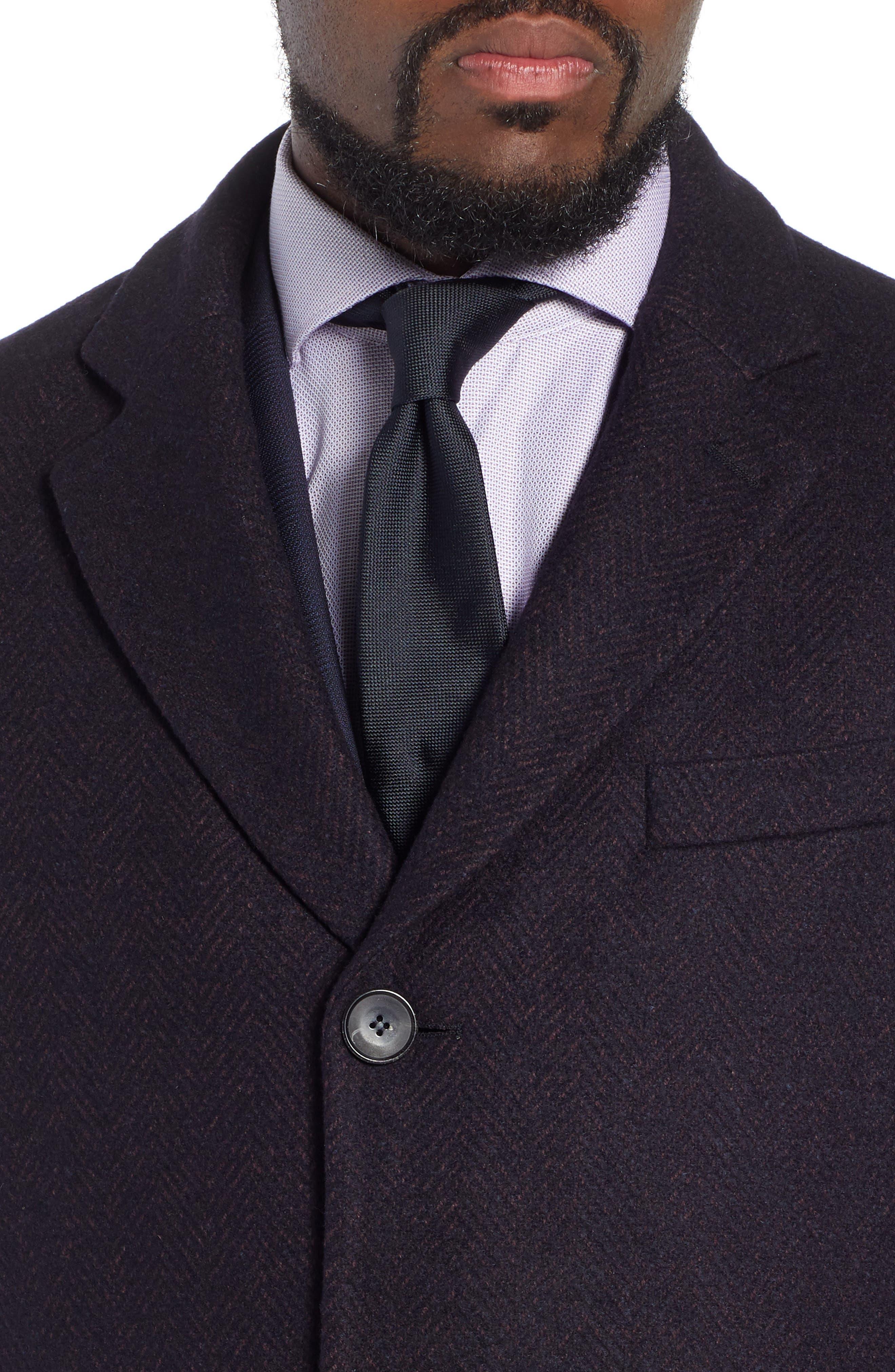 x Nordstrom Nye Wool Blend Top Coat,                             Alternate thumbnail 4, color,                             DARK RED