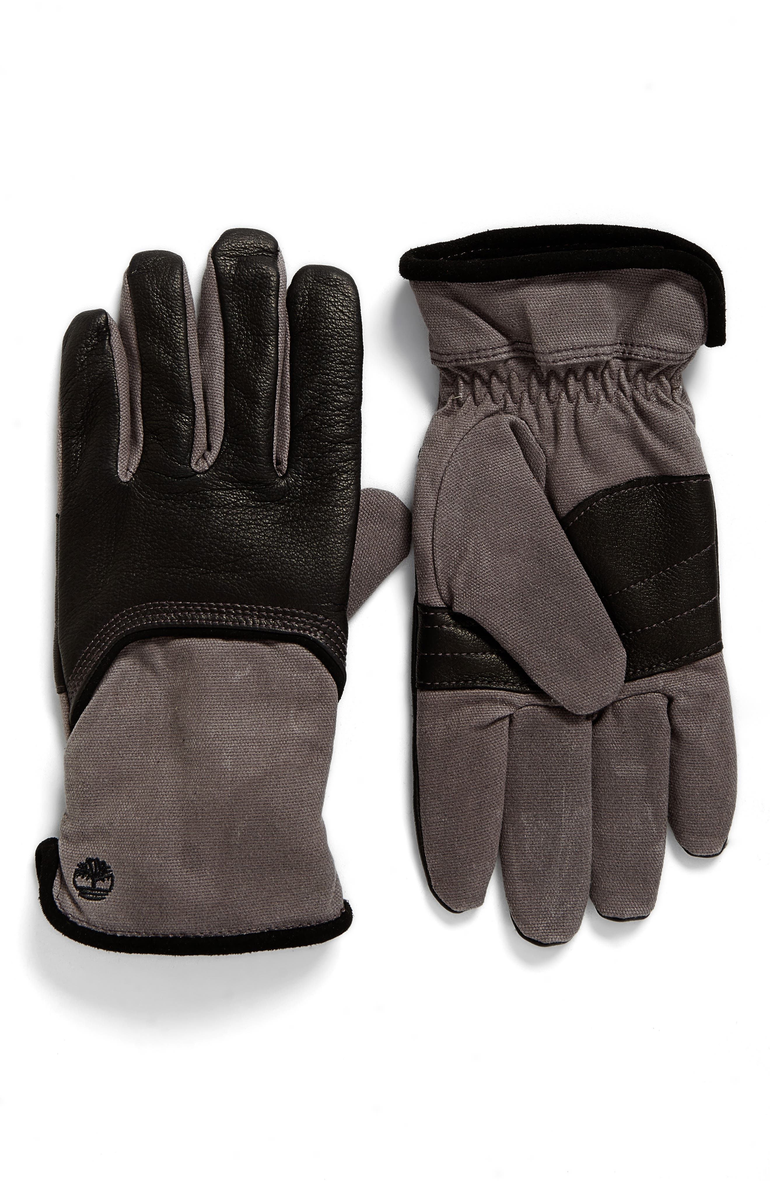Leather & Canvas Gloves,                         Main,                         color, 001
