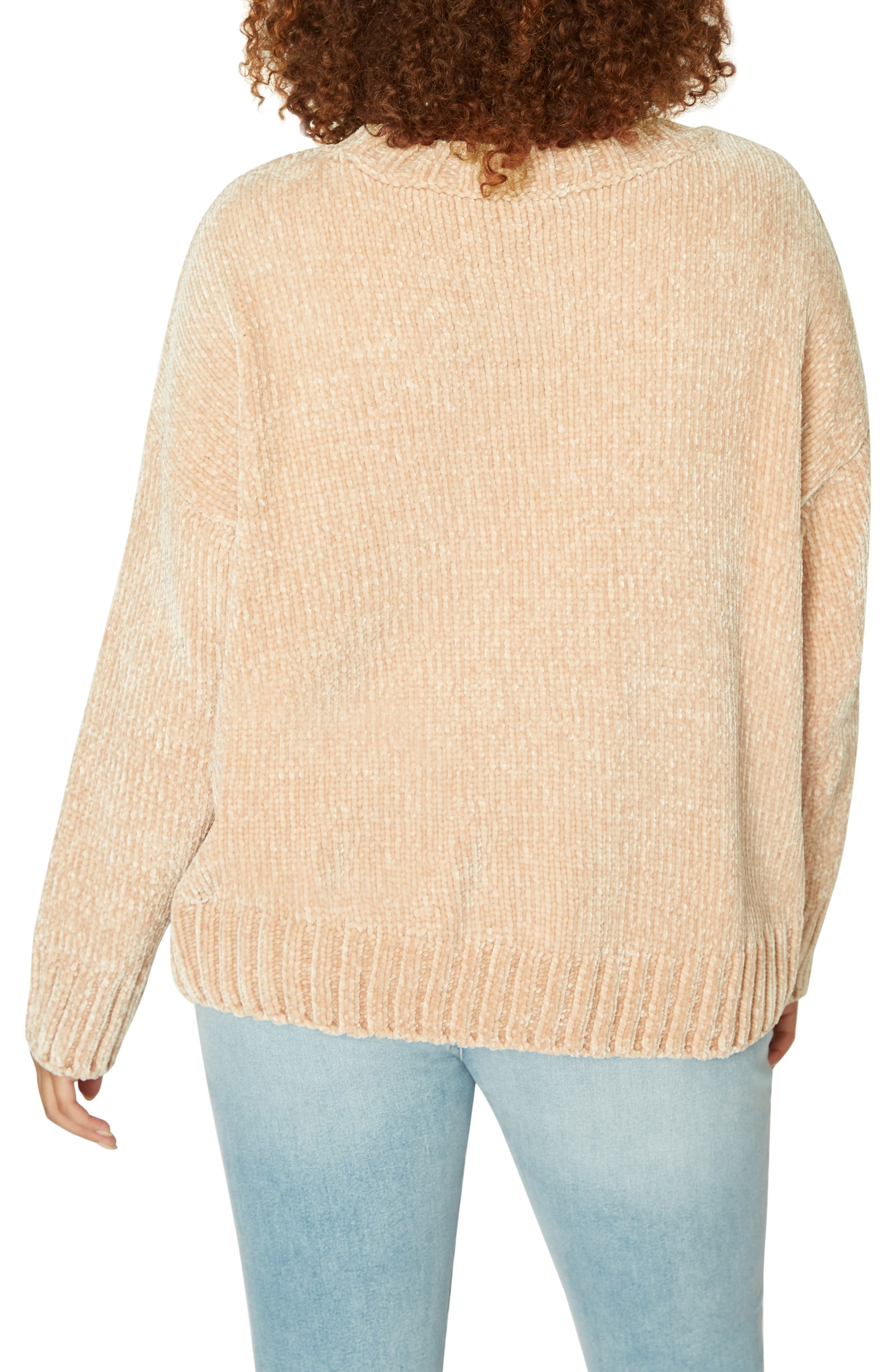 Chenille Crewneck Sweater,                             Alternate thumbnail 2, color,                             CHAMPAGNE