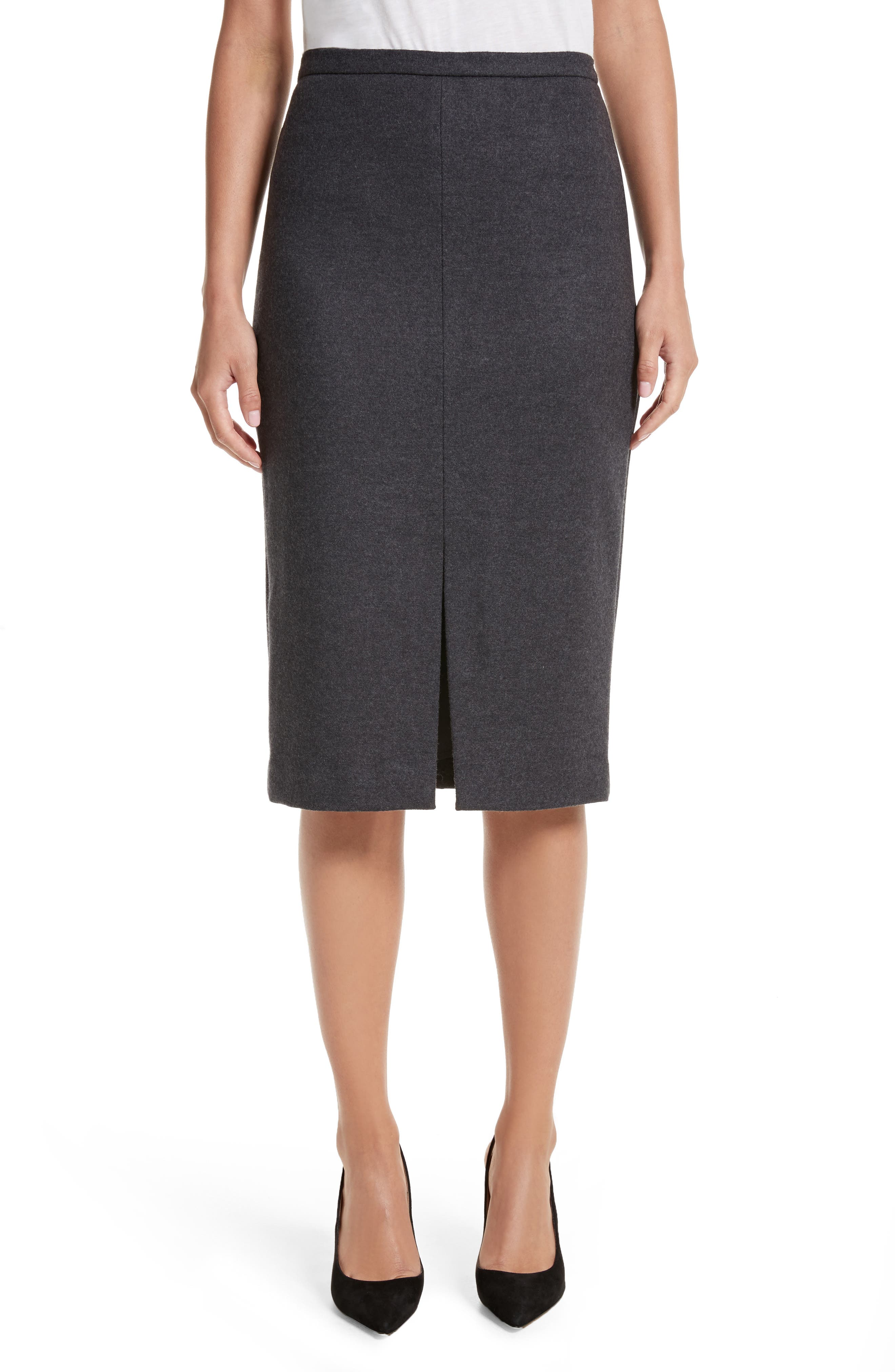 Nanna Leather Trim Wool Pencil Skirt,                         Main,                         color, 024