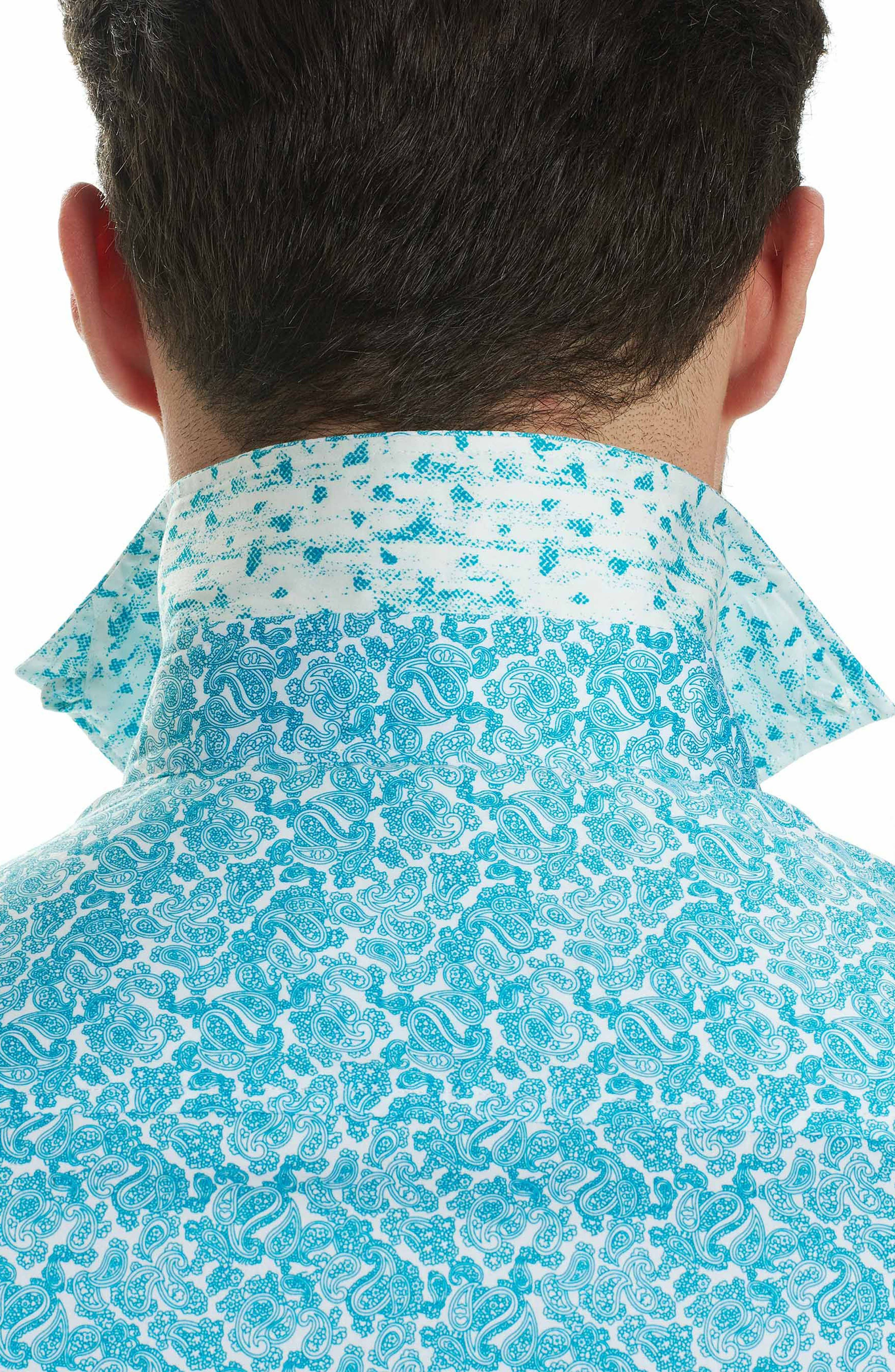 Thad Tailored Fit Paisley Sport Shirt,                             Alternate thumbnail 8, color,