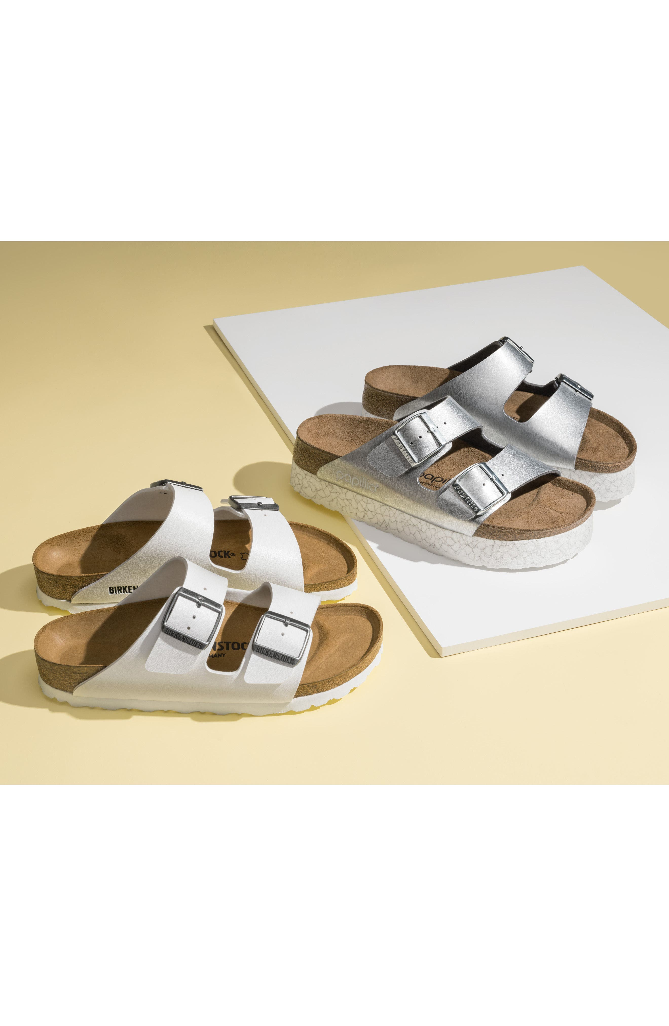 'Arizona' White Birko-Flor Sandal,                             Alternate thumbnail 12, color,                             WHITE SYNTHETIC LEATHER