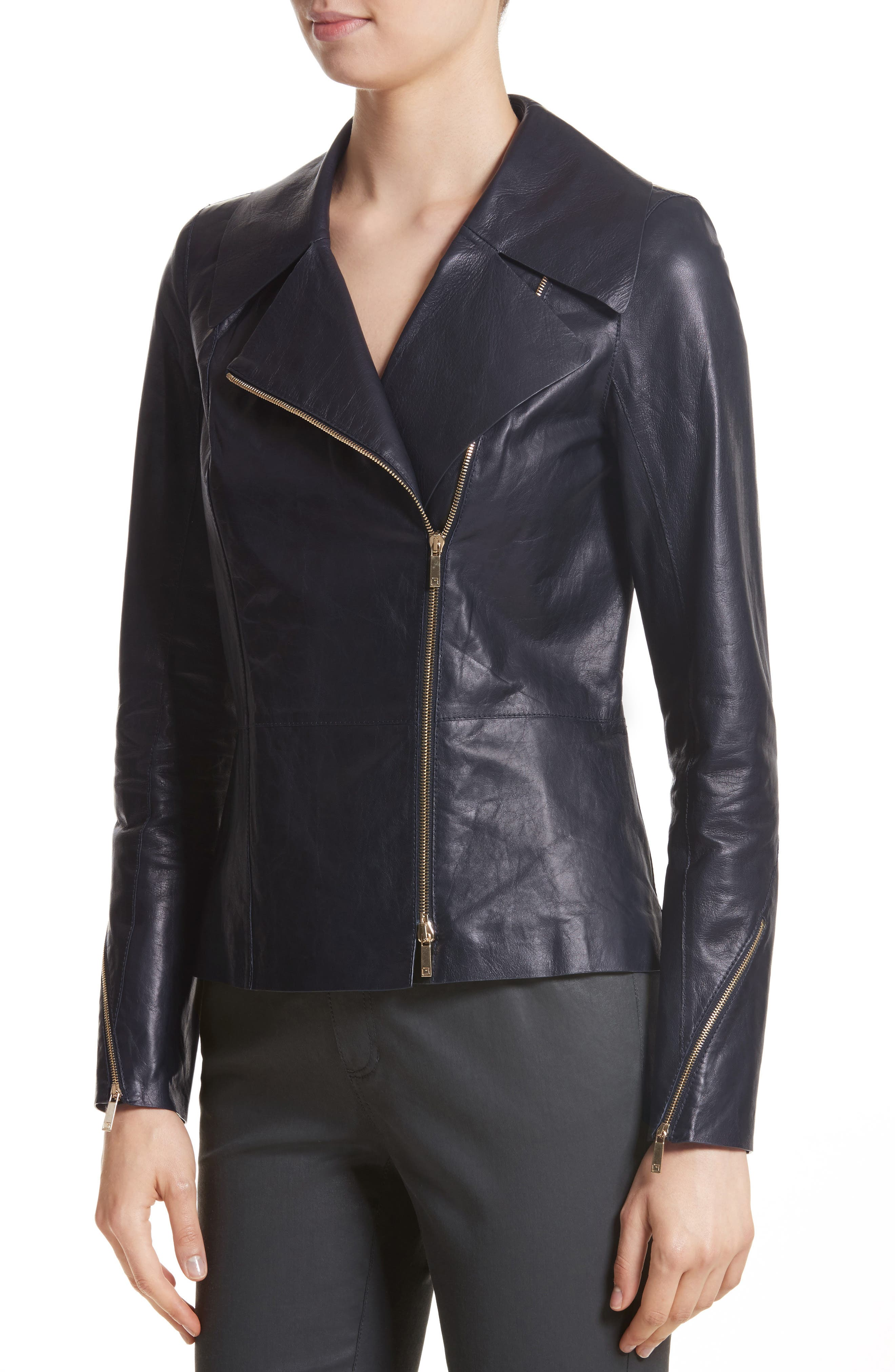 Kimbry Leather Jacket with Removable Genuine Rex Rabbit Fur Collar,                             Alternate thumbnail 4, color,                             479