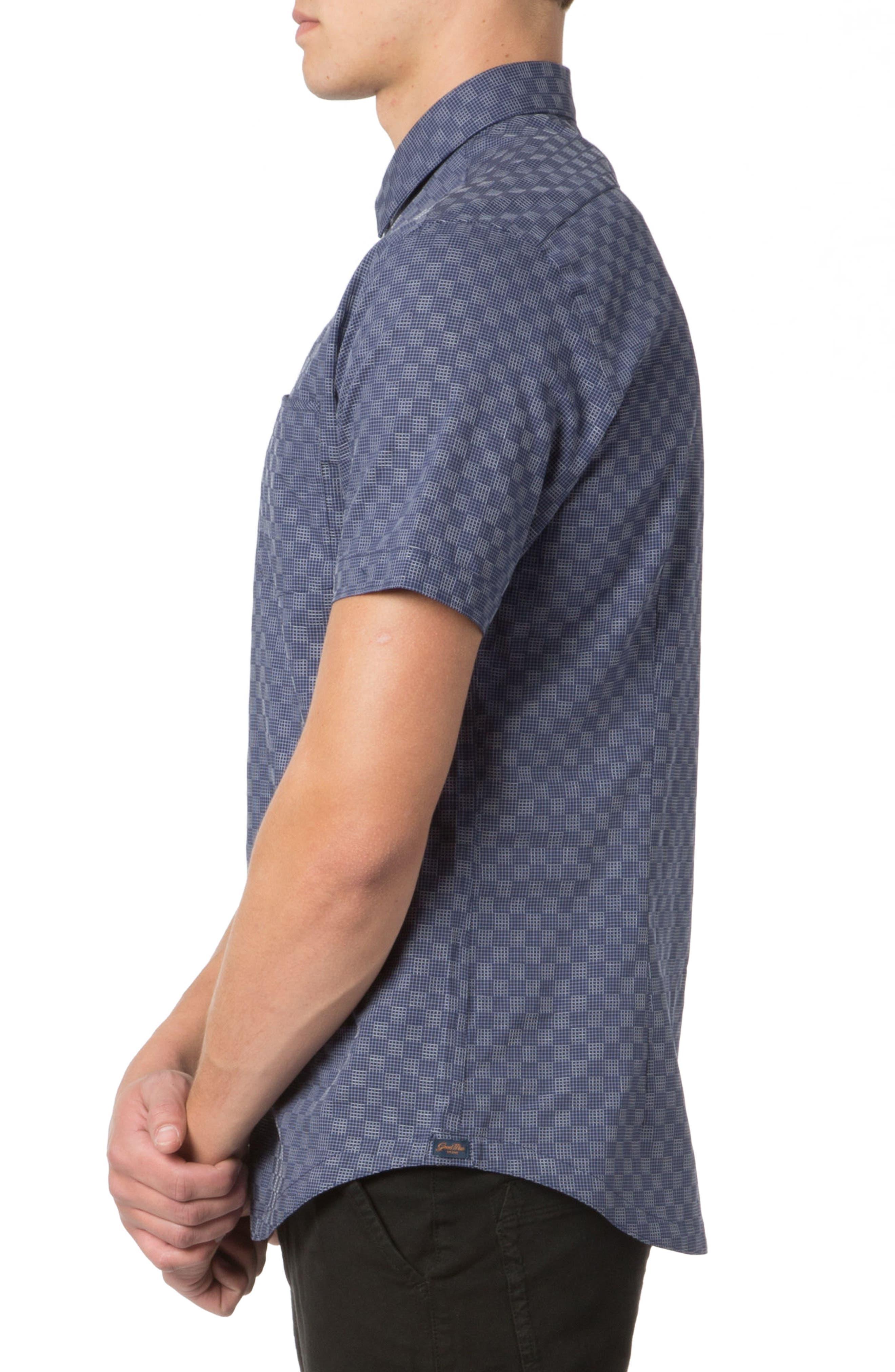 Trim Fit Graph Print Sport Shirt,                             Alternate thumbnail 3, color,                             NAVY