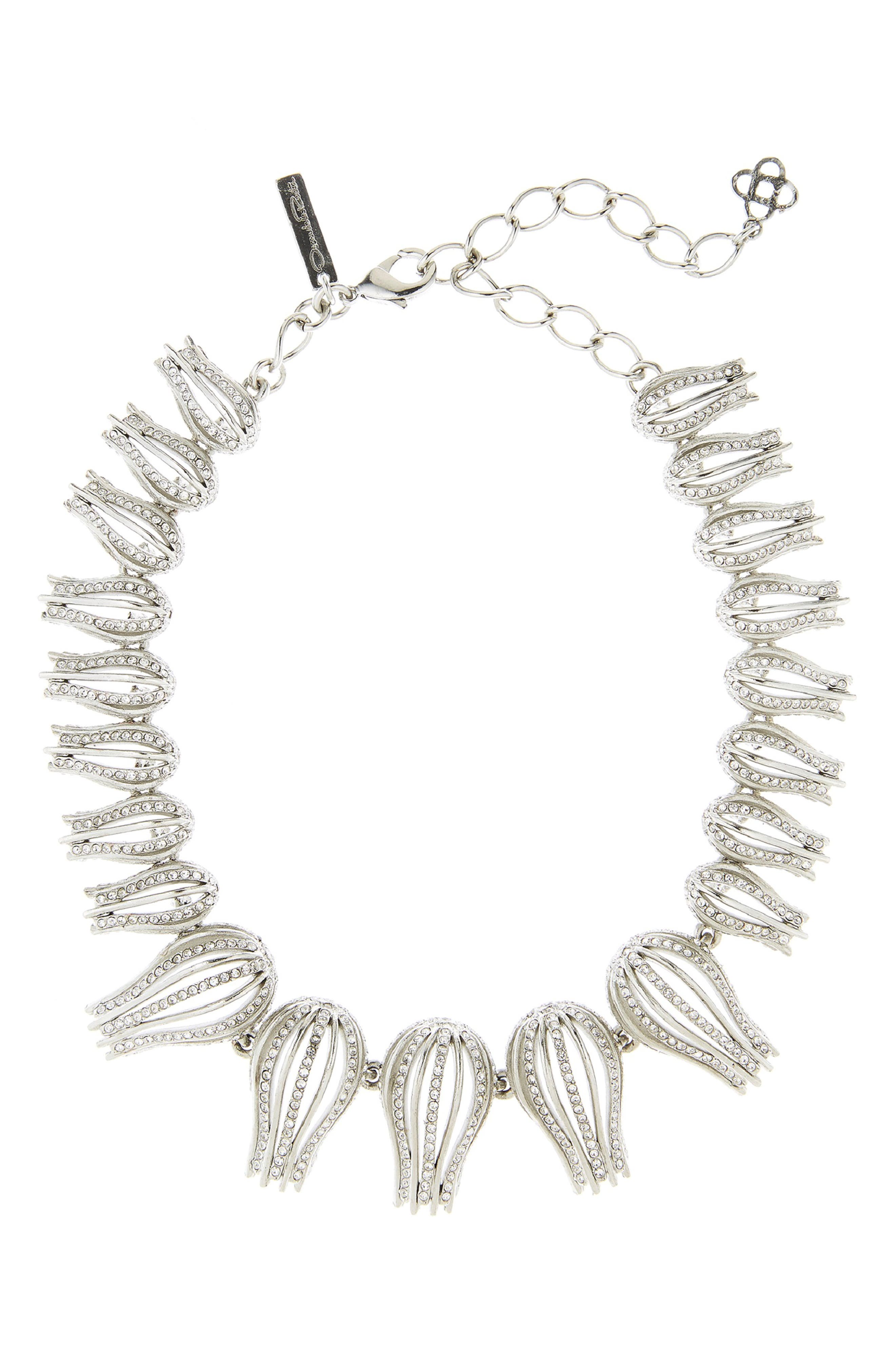 OSCAR DE LA RENTA,                             Pavé Tulip Collar Necklace,                             Main thumbnail 1, color,                             CRYSTAL