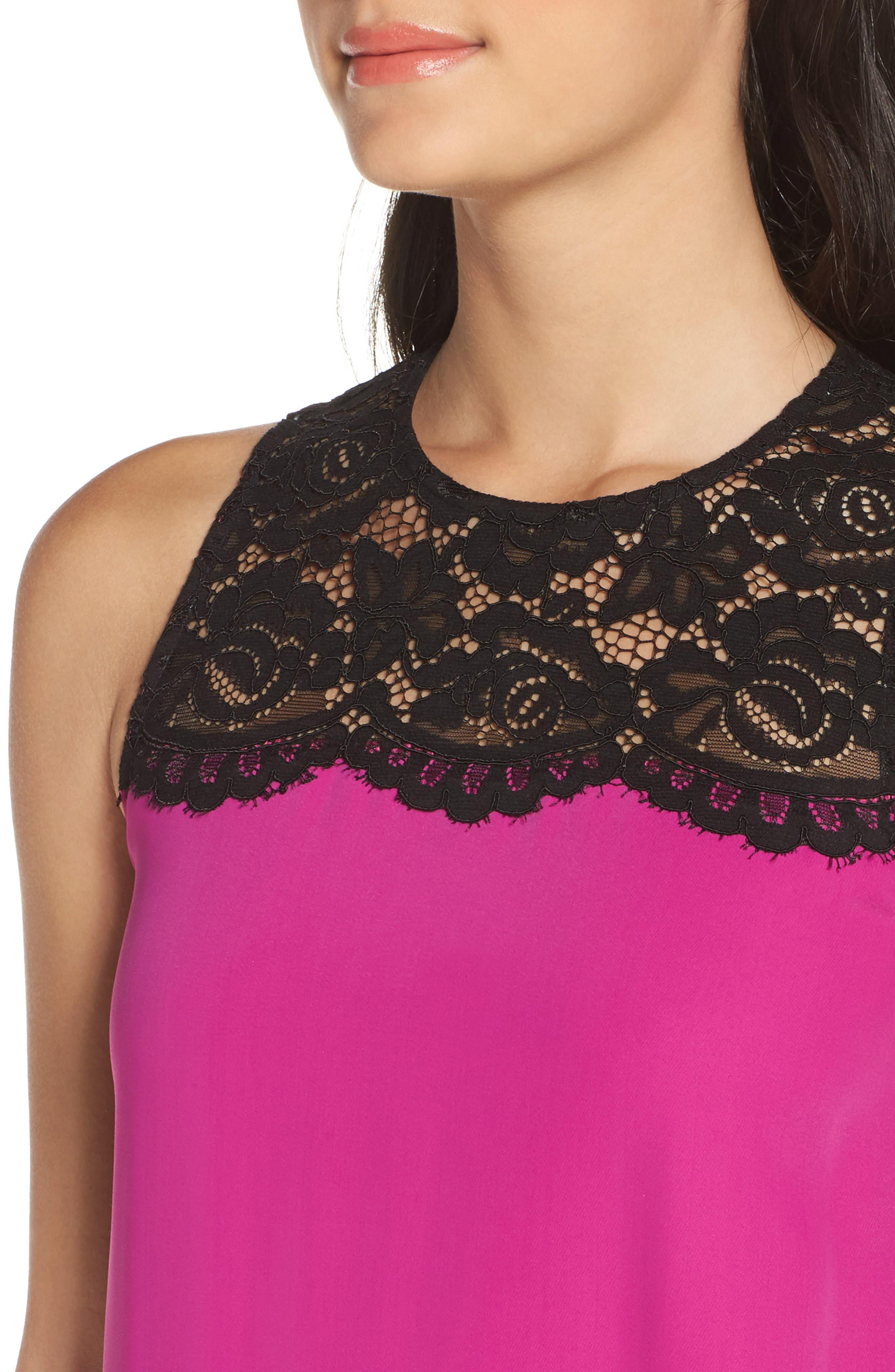 Lace & Crepe Shift Dress,                             Alternate thumbnail 8, color,