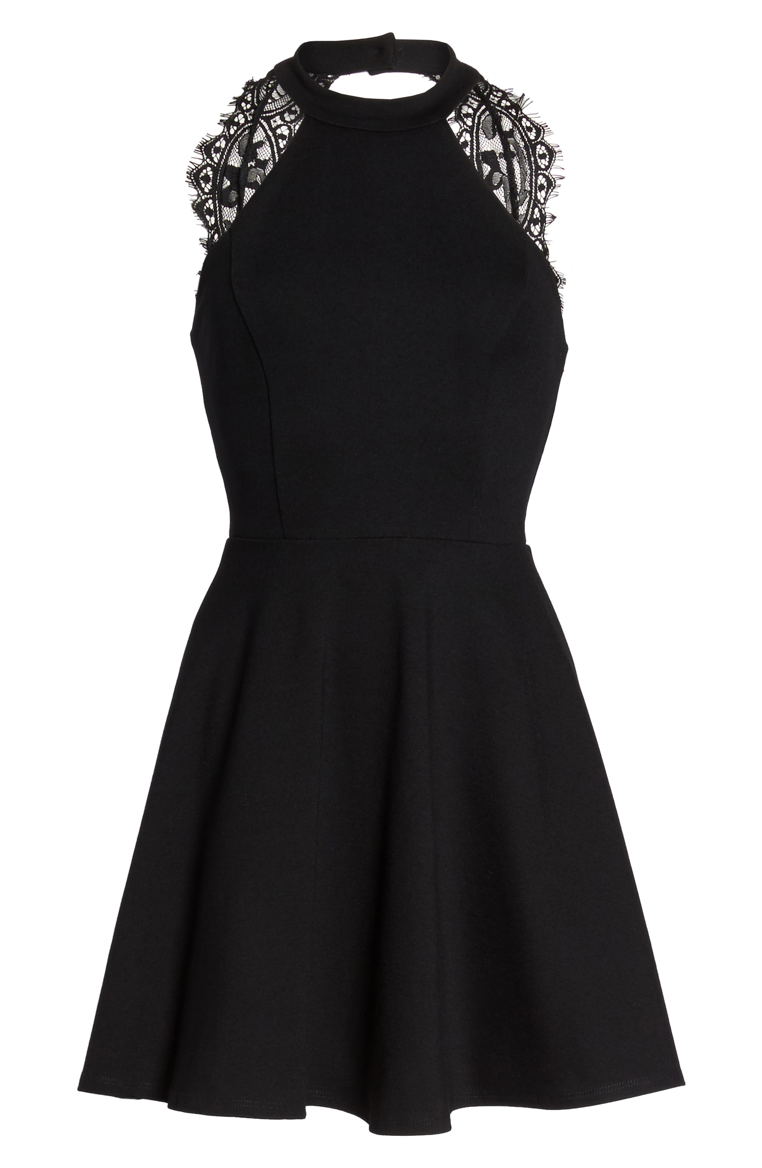 Endlessly Alluring Lace Trim Fit & Flare Dress,                             Alternate thumbnail 6, color,                             001