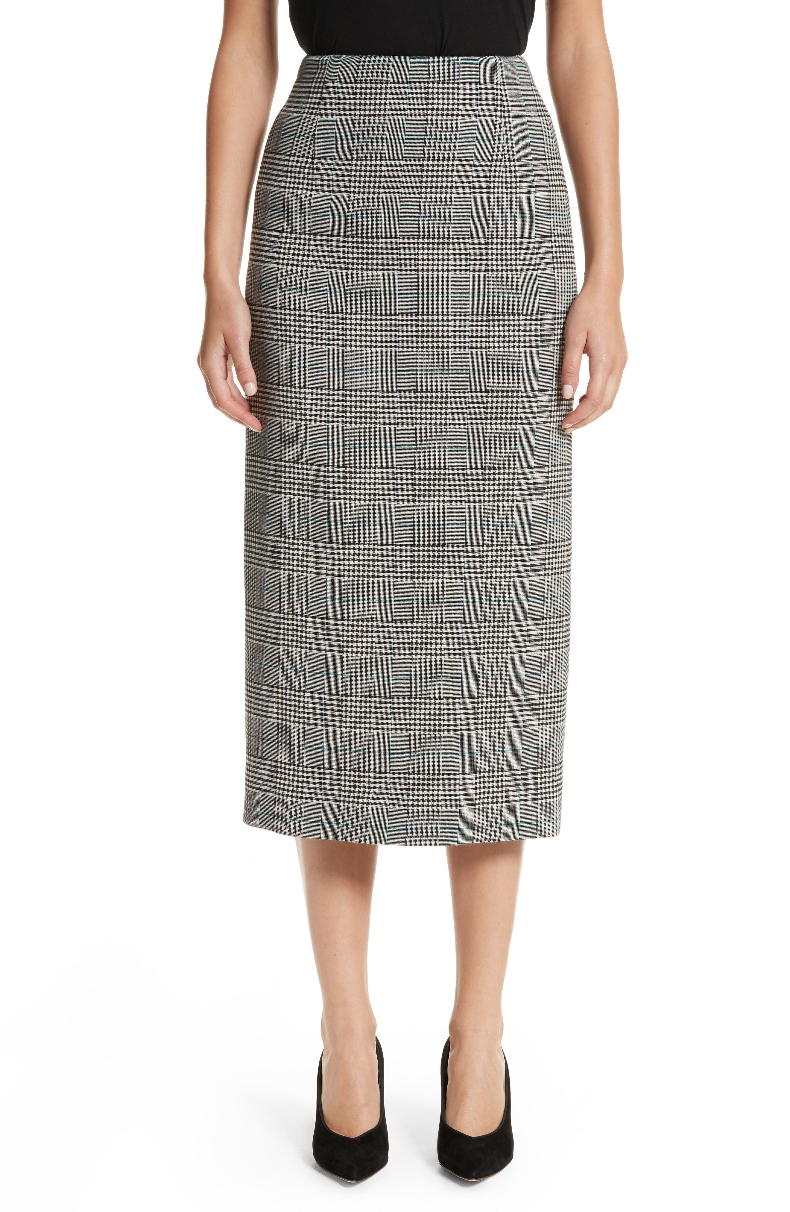 Prince of Wales High Waist Pencil Skirt,                         Main,                         color, 001