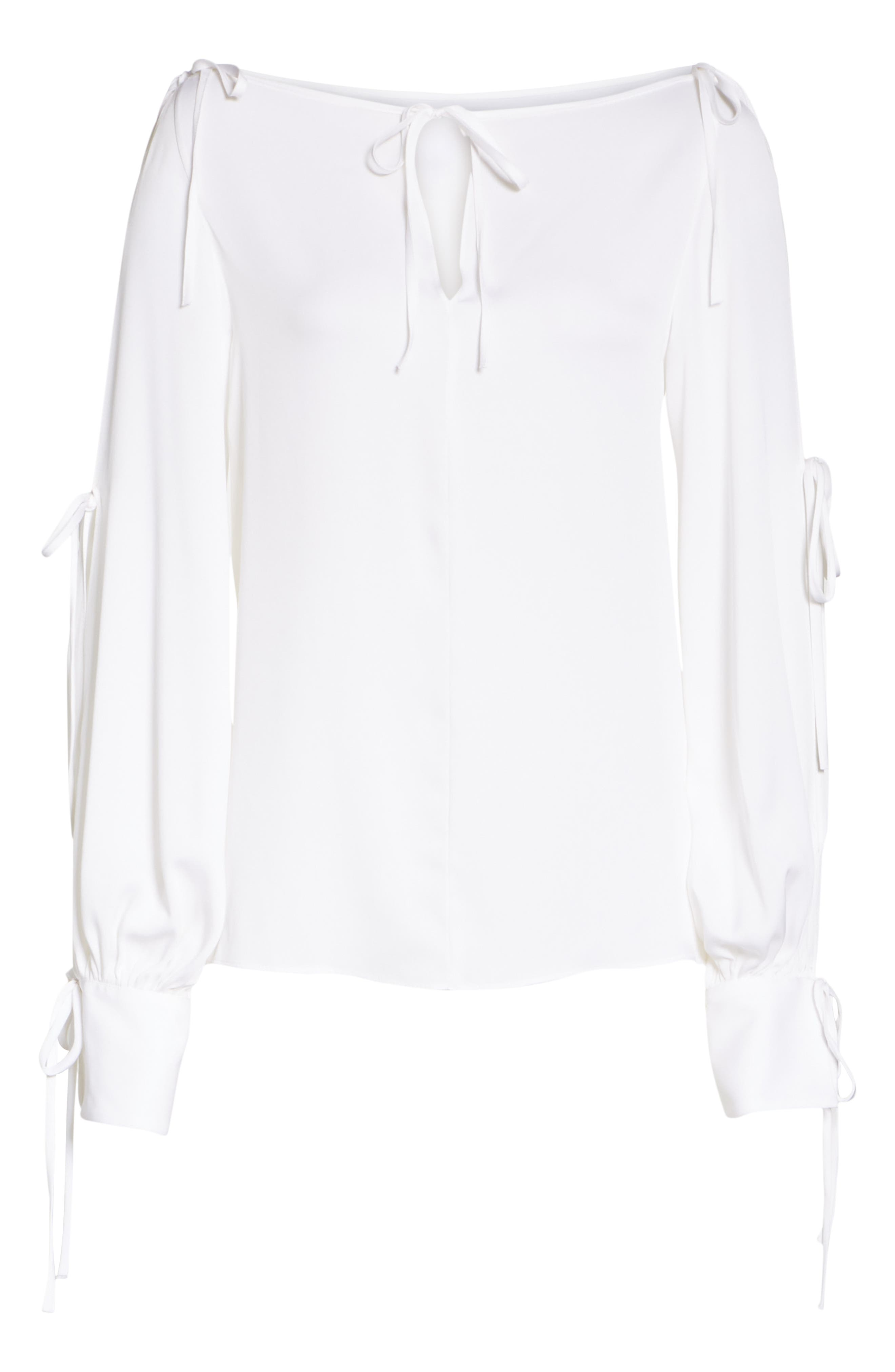 Connie Stretch Cold Shoulder Silk Top,                             Alternate thumbnail 6, color,                             WHITE